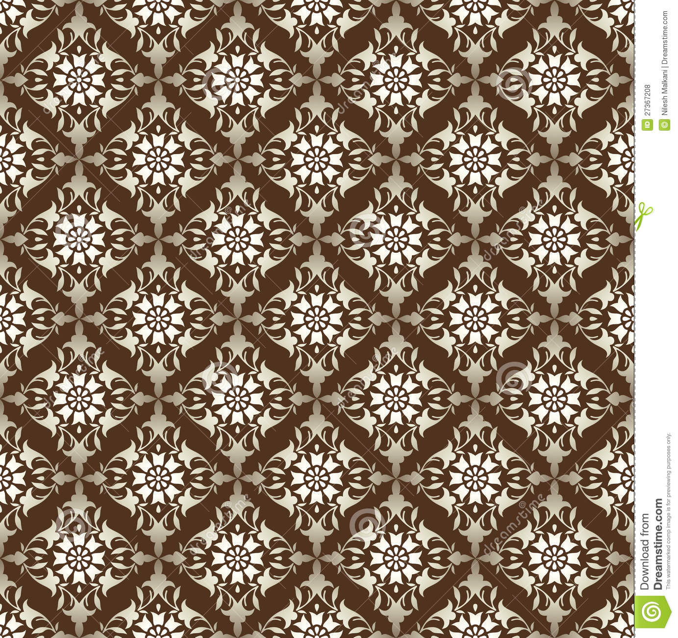 Seamless antique look vector wallpaper in brown shade.