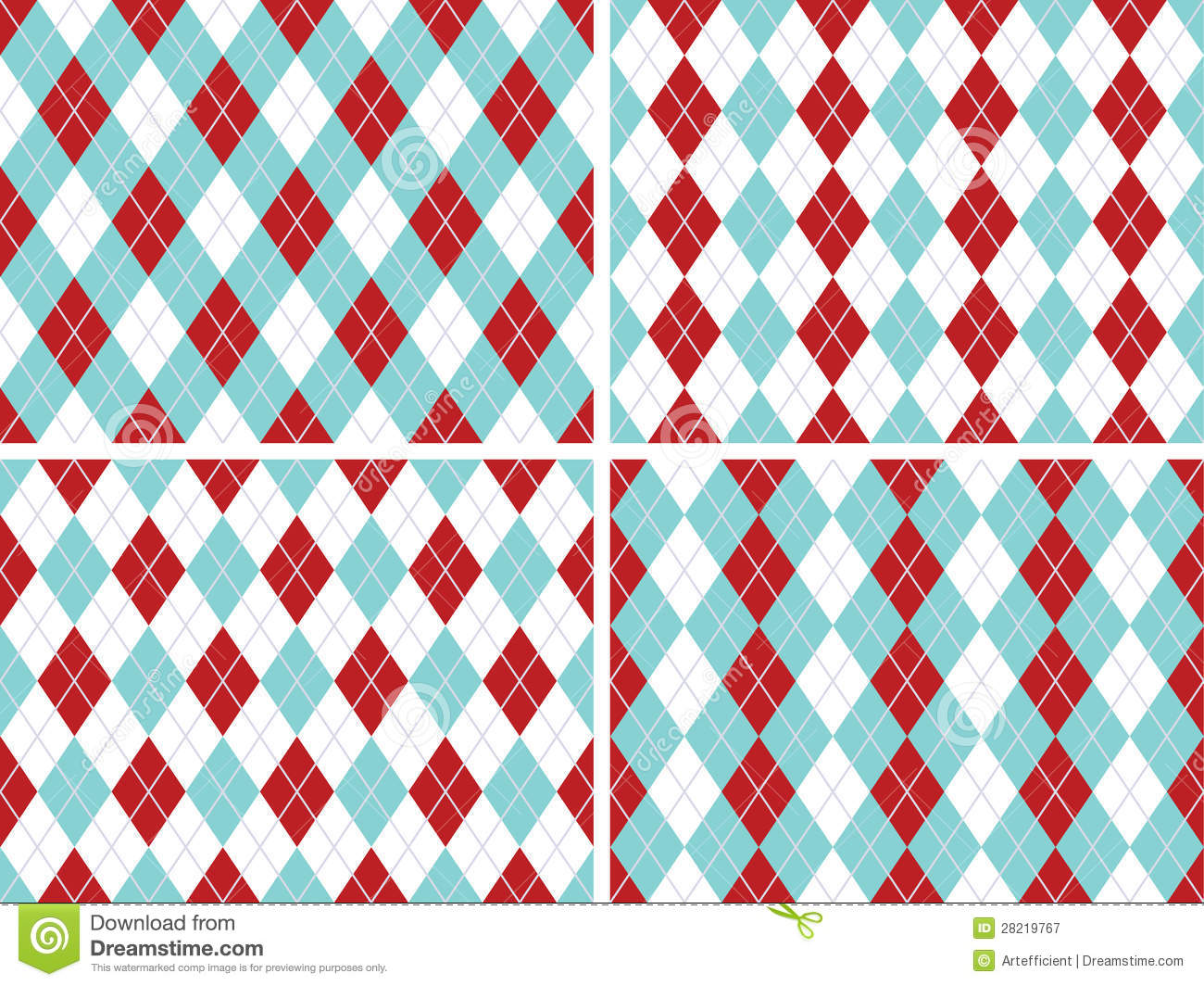 Seamless Argyle Patterns Aqua Blue, Red With Solid Silver