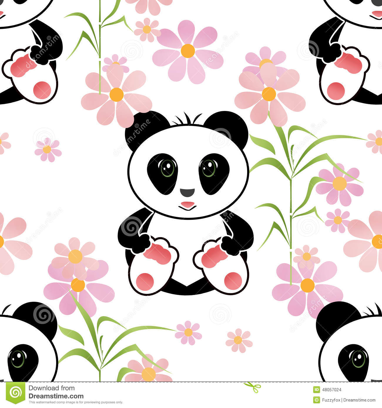 Seamless Asia Panda Bear Kids Illustration Background Pattern Stock ...
