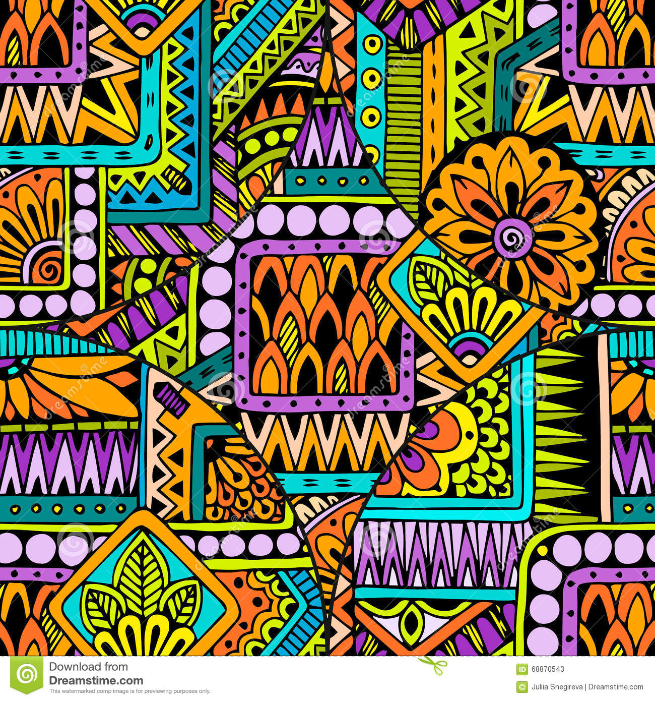 seamless asian ethnic floral retro doodle background pattern in