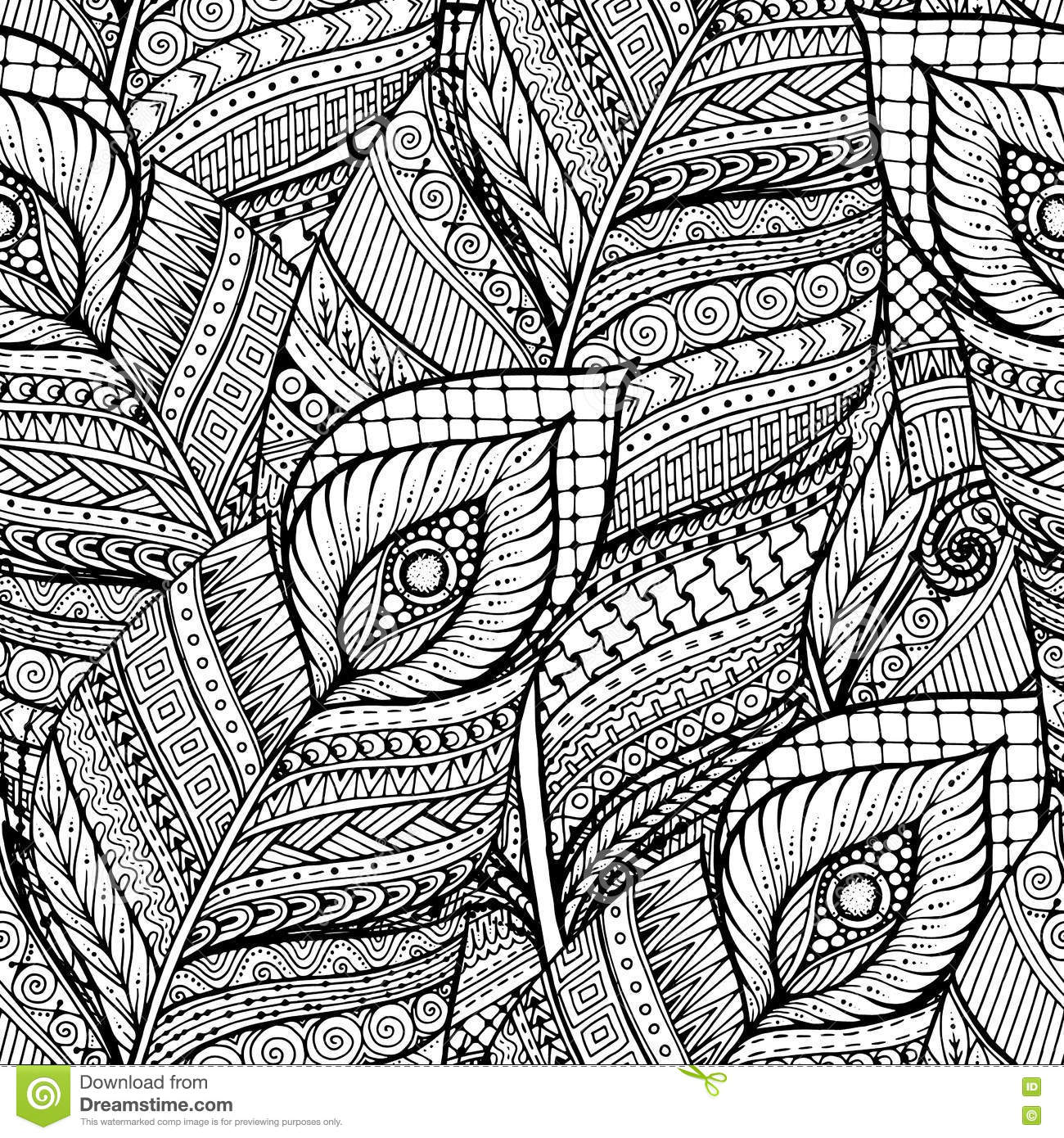 Seamless Asian Ethnic Floral Retro Doodle Black White