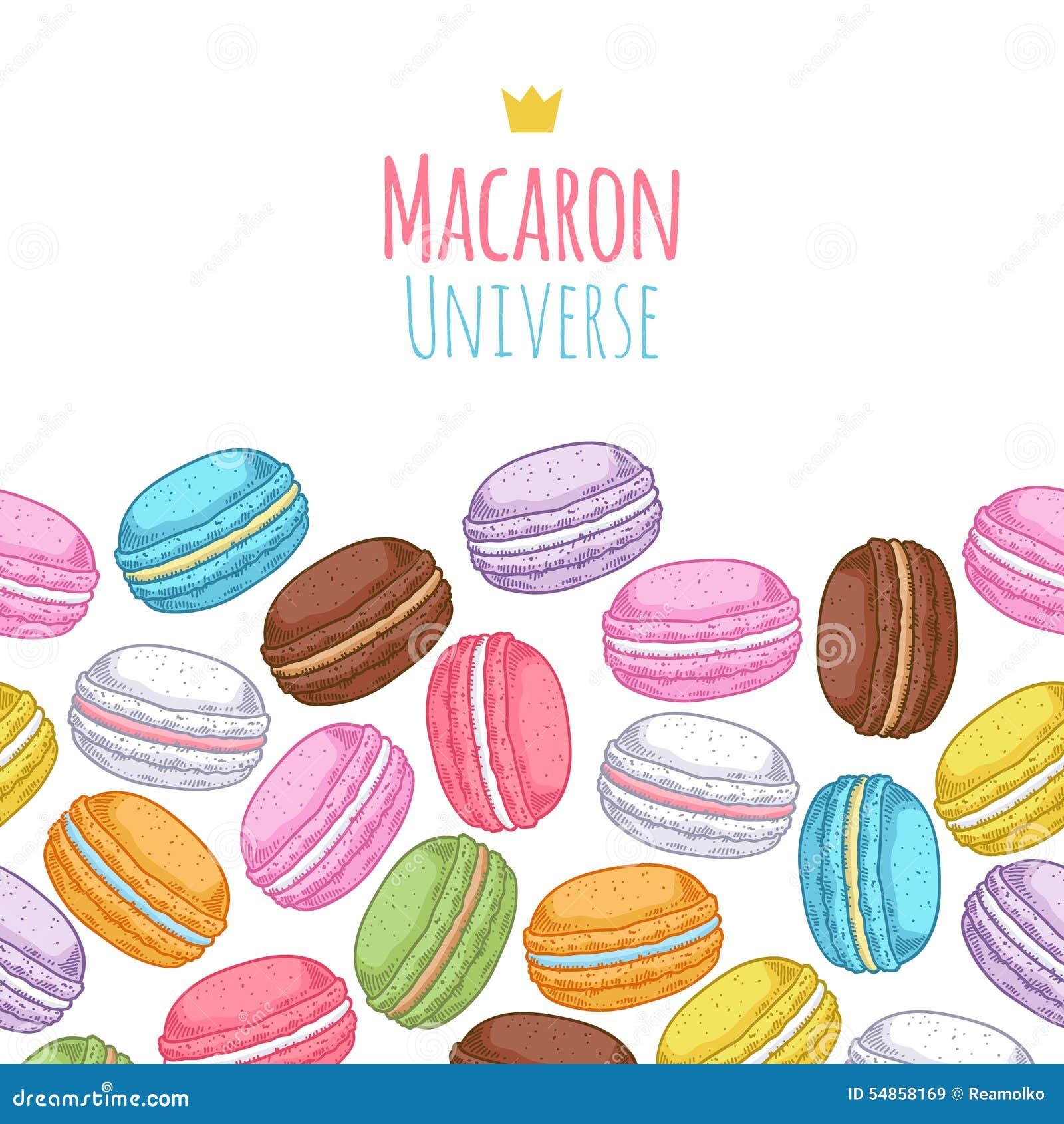 Seamless Assorted Macarons Horiaontal Pattern Stock Vector