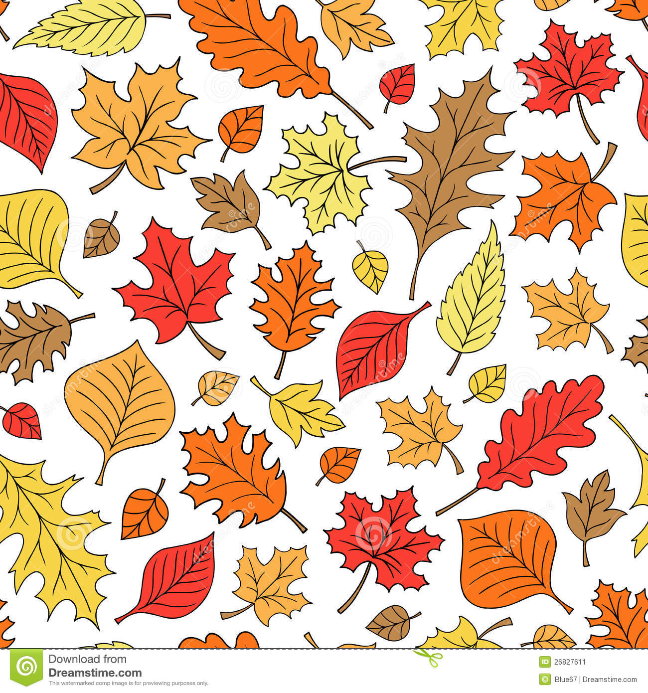 seamless autumn fall leaves pattern vector stock vector