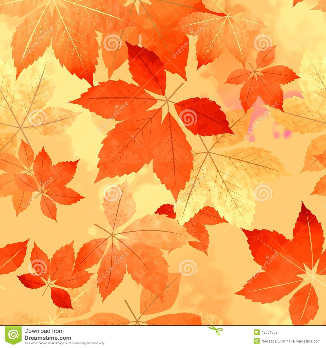 Seamless Autumn Leaf Fall Pattern Stock Vector