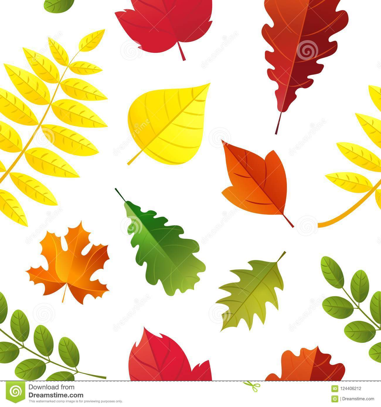 Seamless Autumn Leaves Pattern Isolated On White Background Colorful Fall Leaf Cartoon Flat Style Stock Vector Illustration Of Season Leaf 124406212