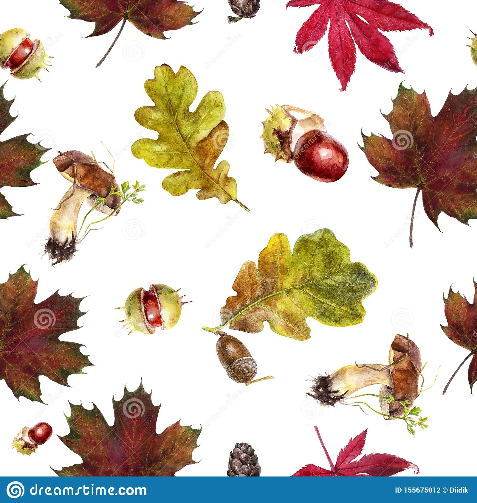 Watercolor hand drawn autumn leaf isolated seamless pattern.