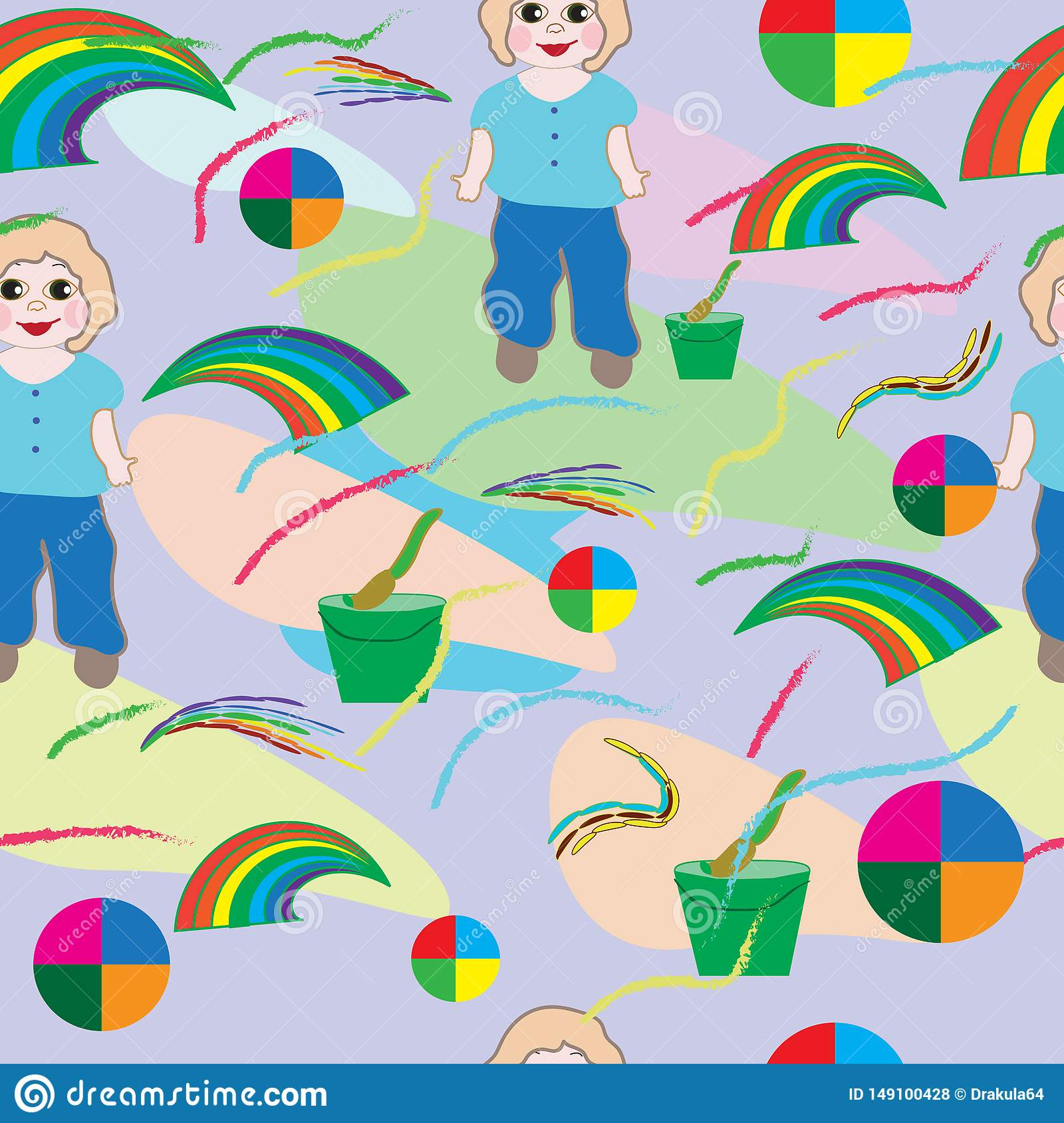 Seamless-baby-background-with-baby,-brush,-rainbow-and-flowers