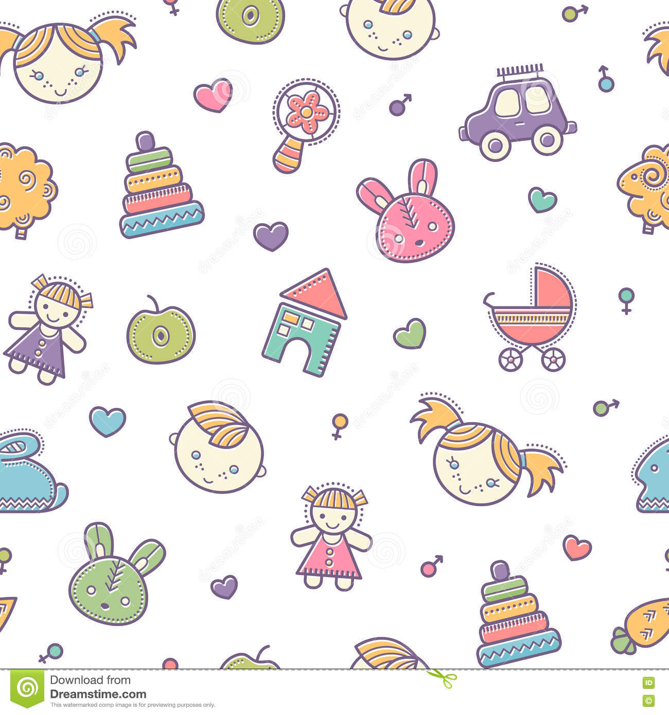 Seamless baby pattern with colorful babyish elements