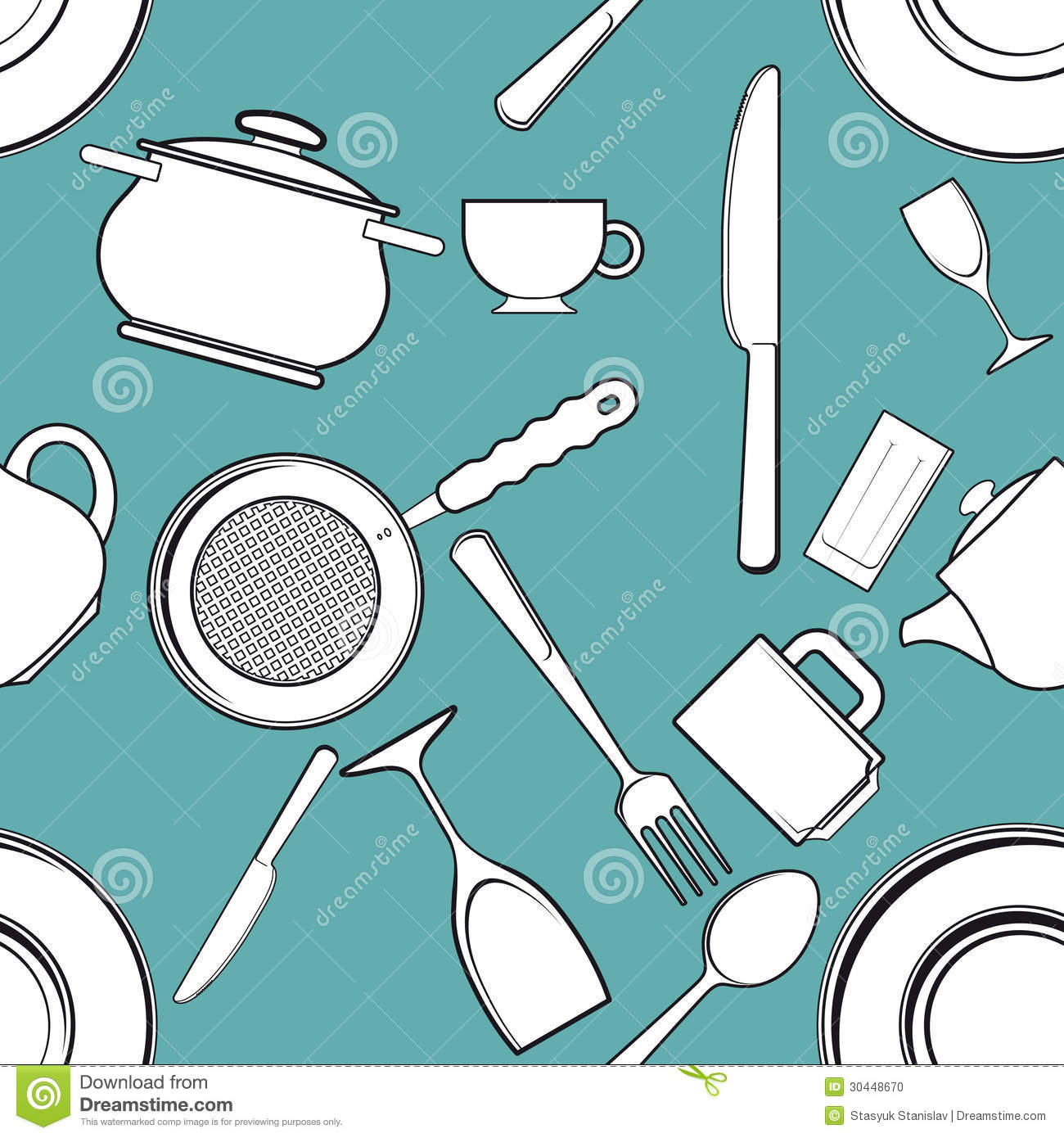 Seamless Background With Antique Kitchen Utensils Stock Vector ...