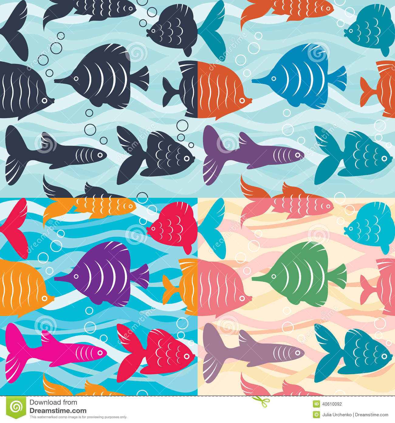 Seamless background aquarium fish stock vector image for Seamless fish tank