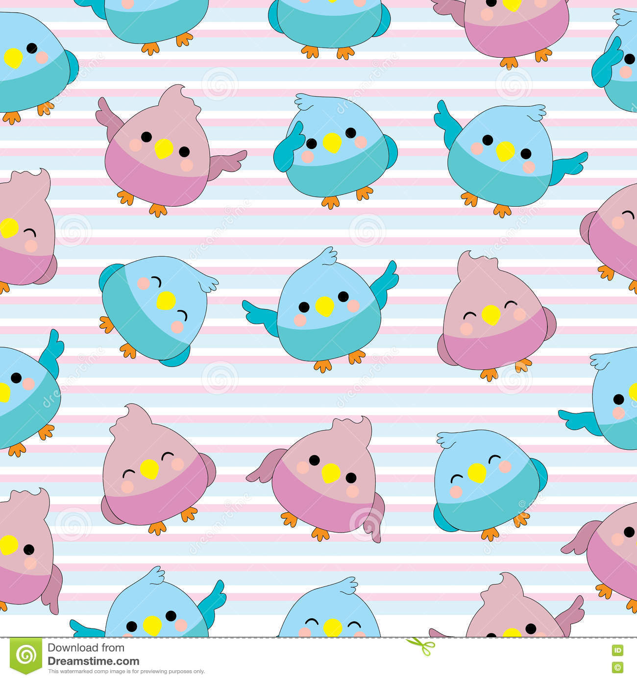 Seamless Background Of Baby Shower Illustration With Cute Baby Birds