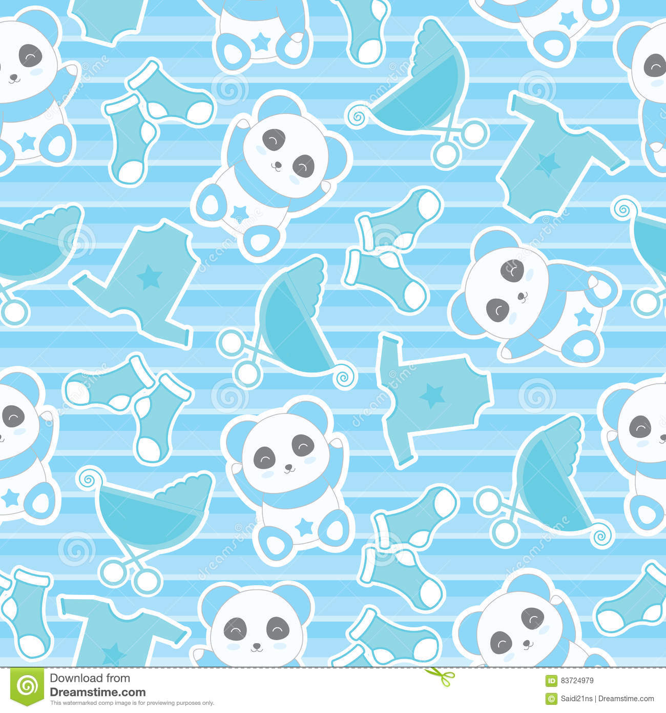 Seamless Background Of Baby Shower Illustration With Cute Baby Boy Panda And Baby Clothes On Stripes Background Illustration 83724979 Megapixl