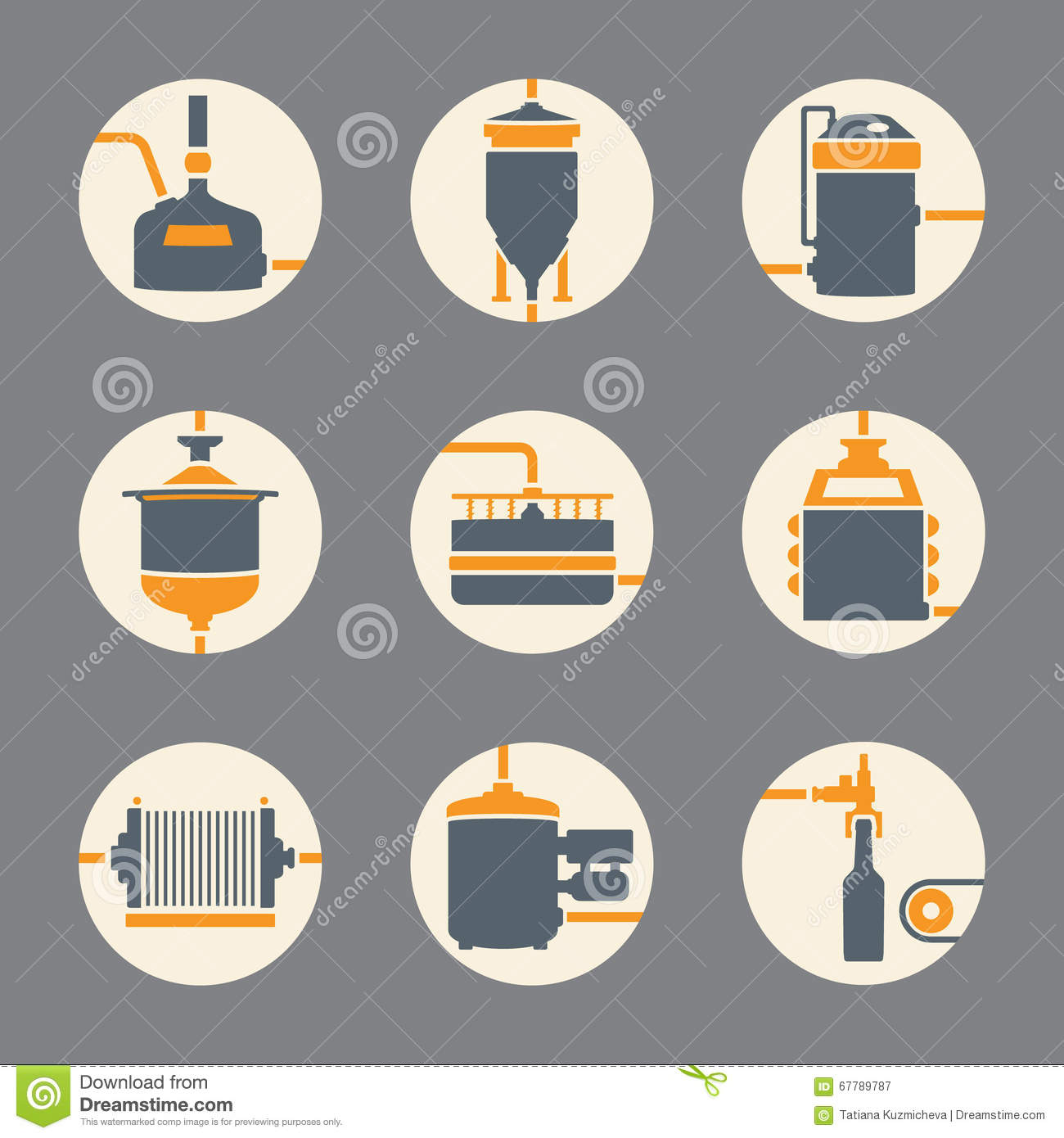 beer brewing process infographic flat style cartoon Barley and Hops Logo Barley Wheat Vector