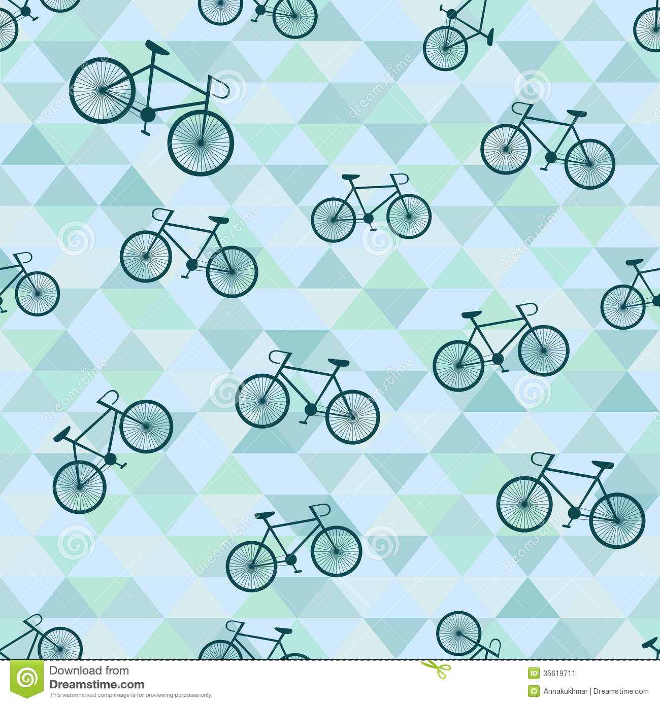 Seamless Background With Bicycle And Triangles Stock Image