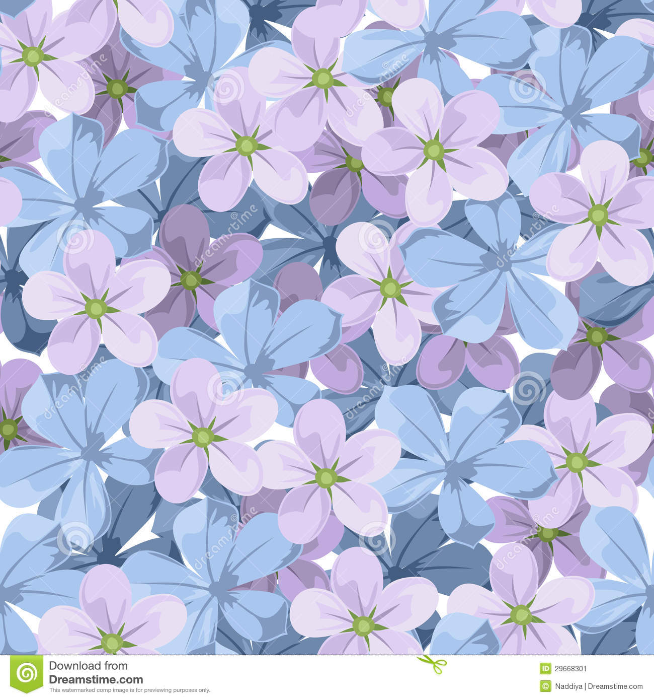 Seamless Background With Blue And Purple Flowers Stock Vector