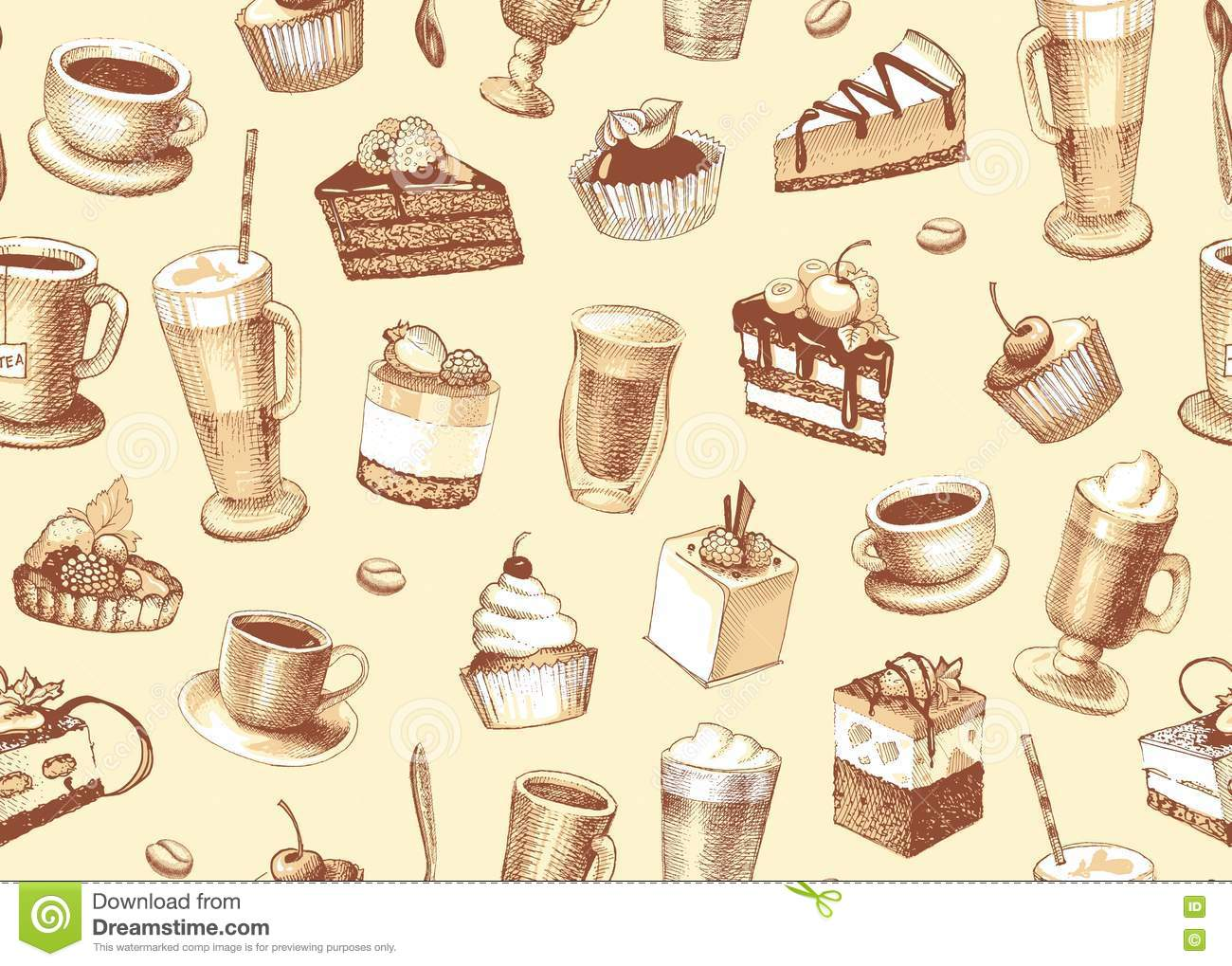 Seamless Background With Cakes Cupcakes And Coffee Stock
