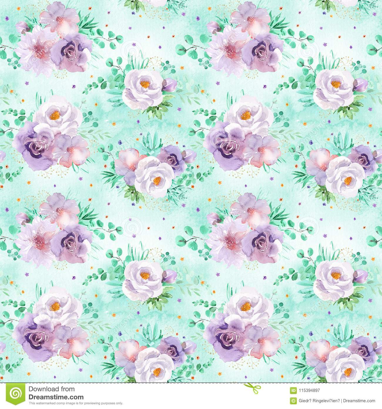 Seamless Watercolor Floral Pattern In Mint Green And Light Purple