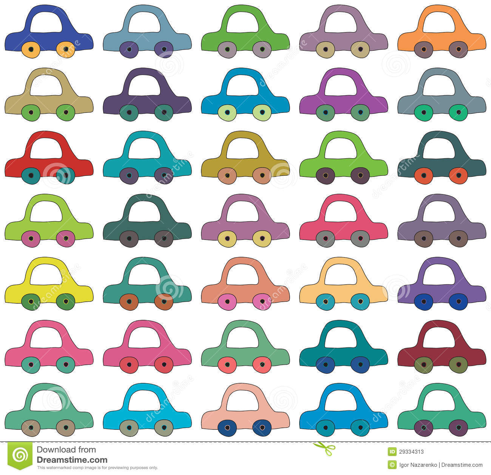Seamless Background, Cartoon Cars Stock Vector