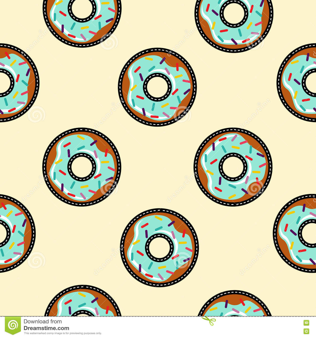 Seamless Background With Cartoon Donut Food Stock Vector ...
