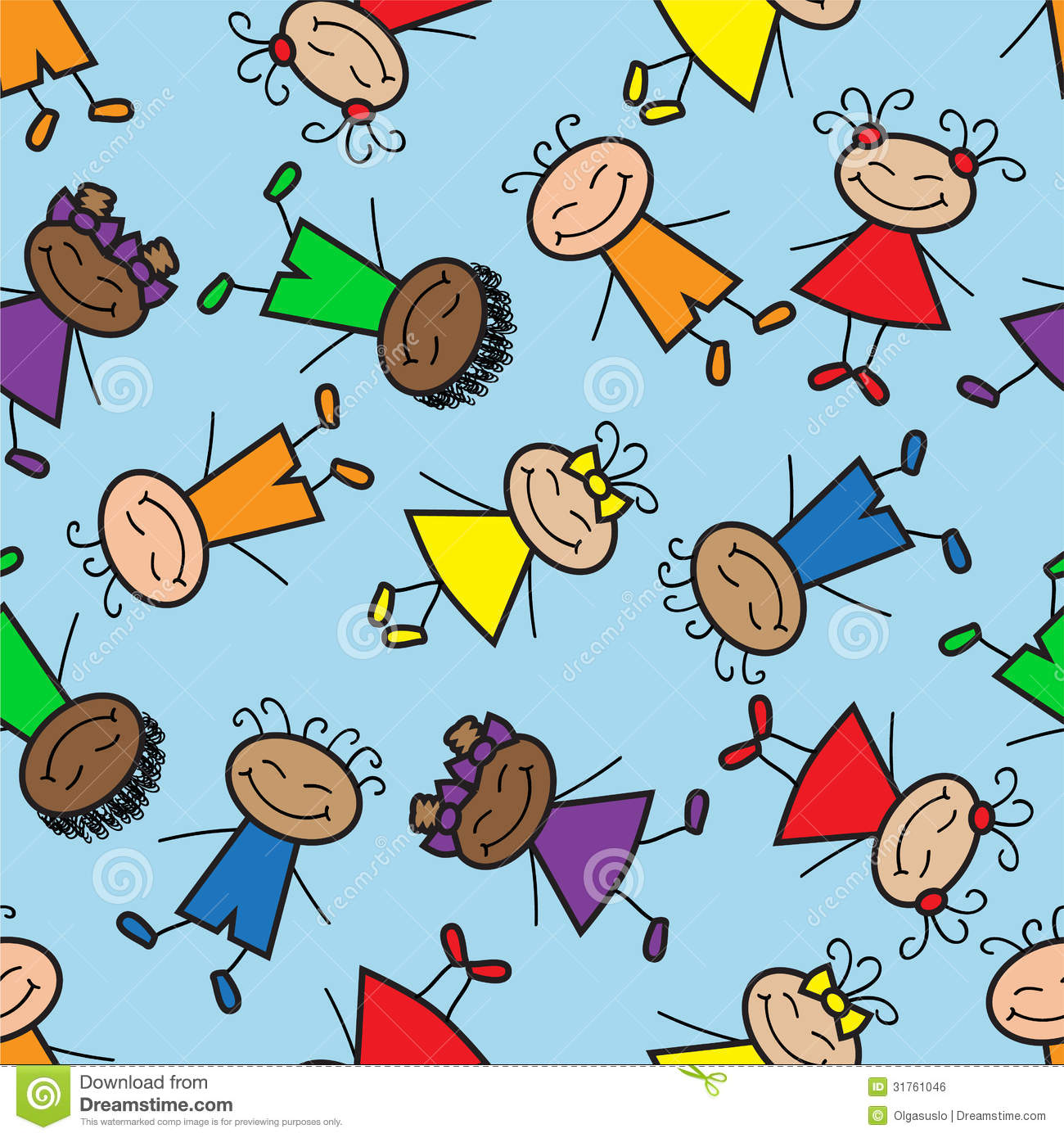 Seamless Background With Cartoon Kids Royalty Free Stock Image - Image ...