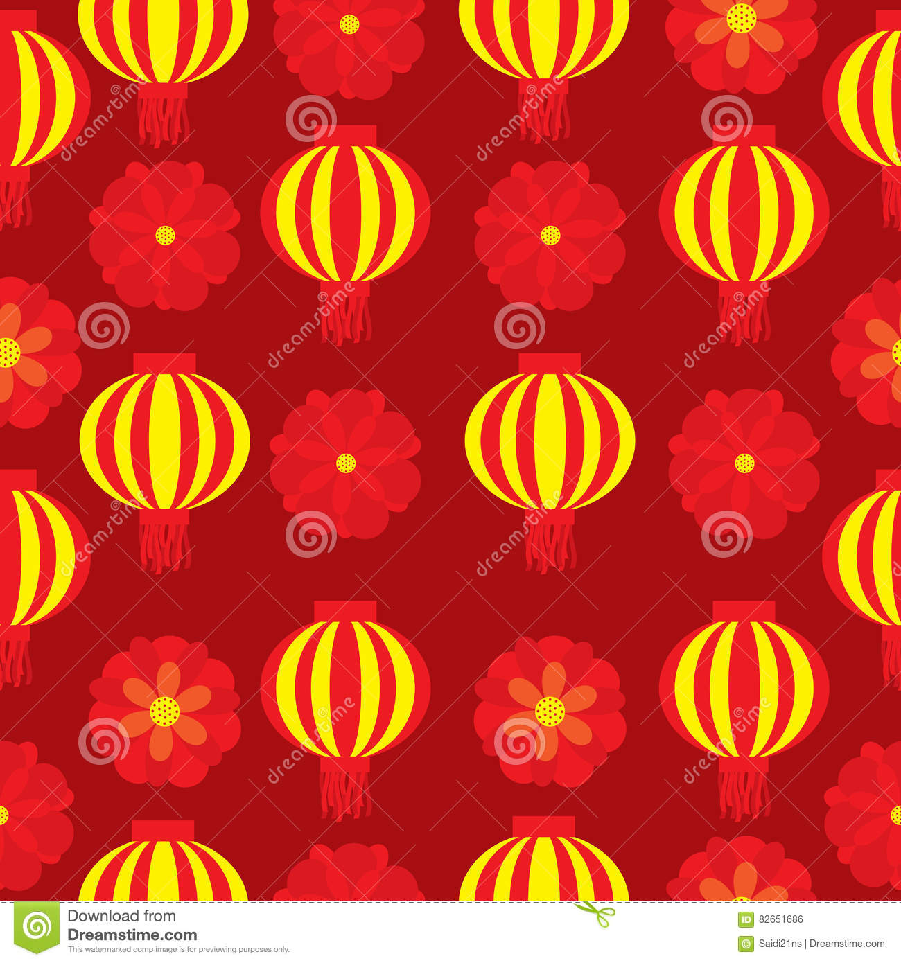 Seamless Background Of Chinese New Year Illustration With Red Flower And Lampion Lamp On