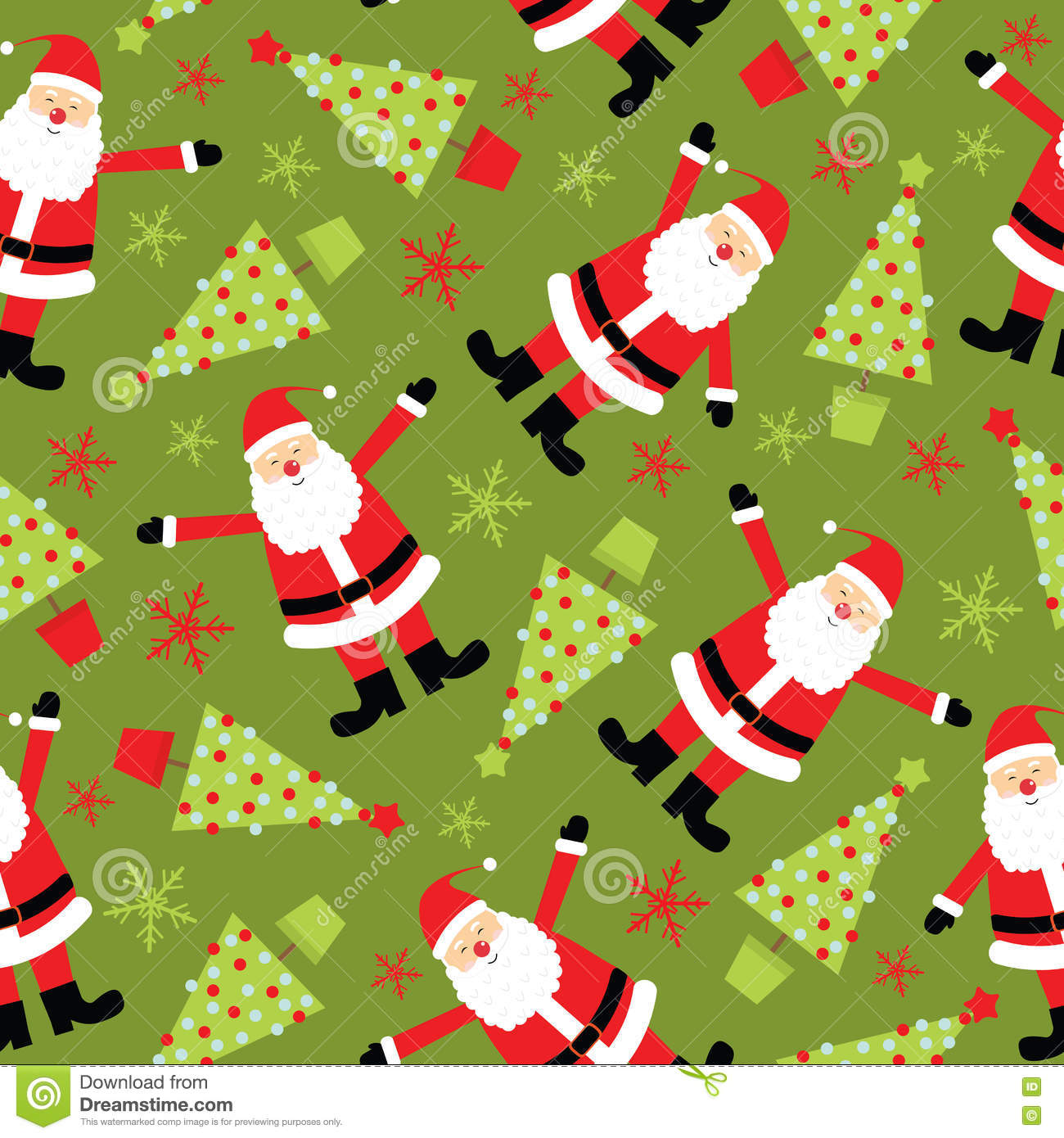 Seamless Background Of Christmas Illustration With Cute