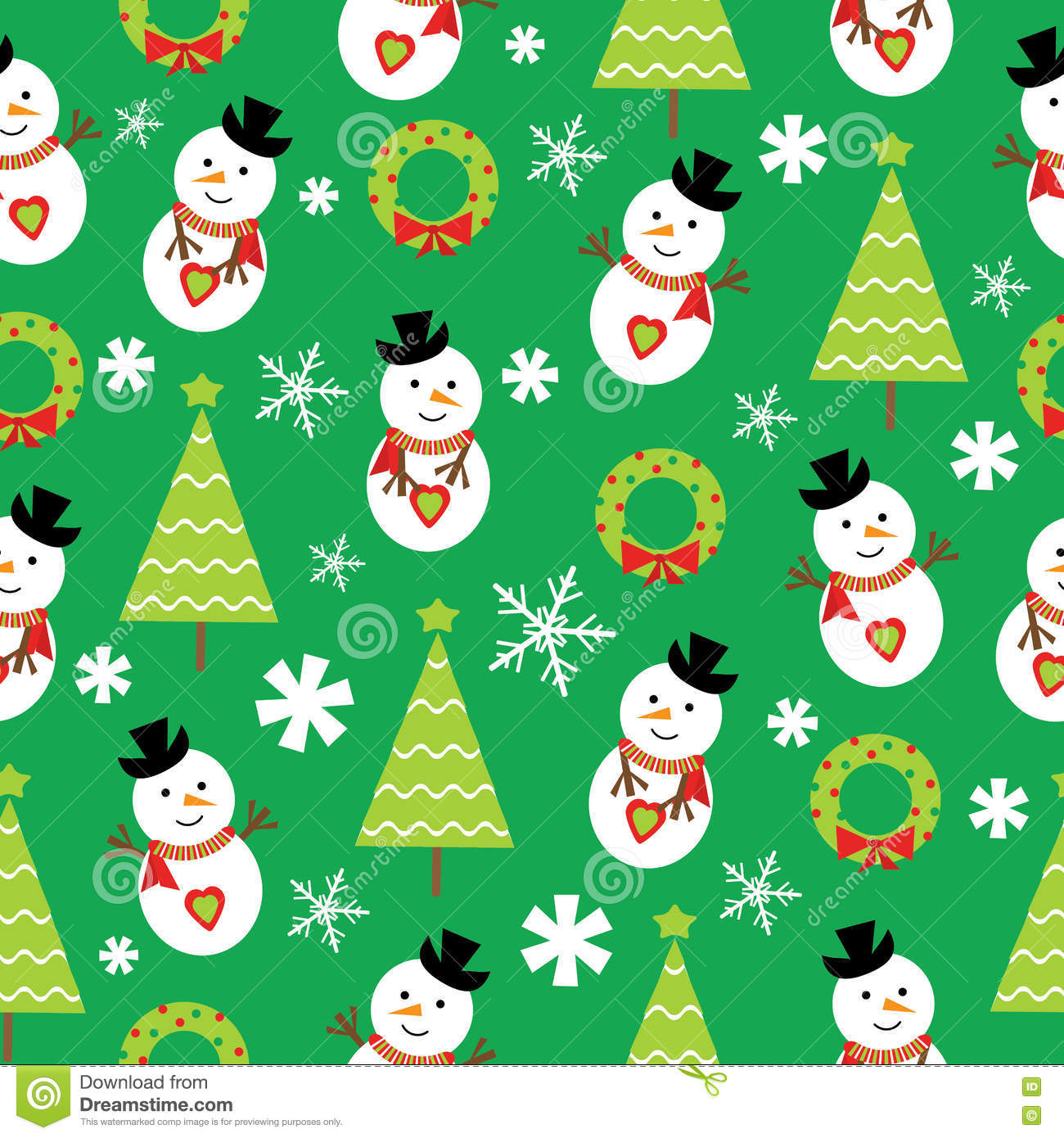 seamless background christmas illustration cute snowman xmas tree green background suitable wallpaper children 80620676