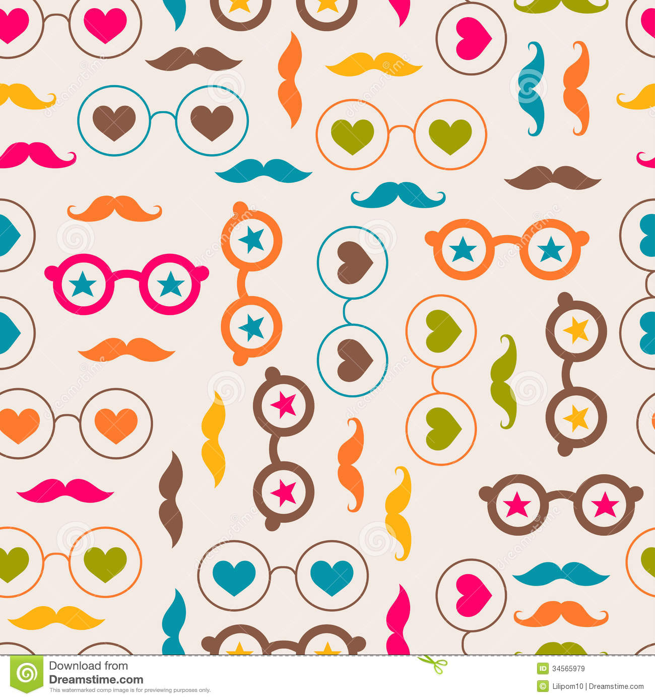 Seamless Background With Color Glasses And Mustach Royalty Free Stock Images