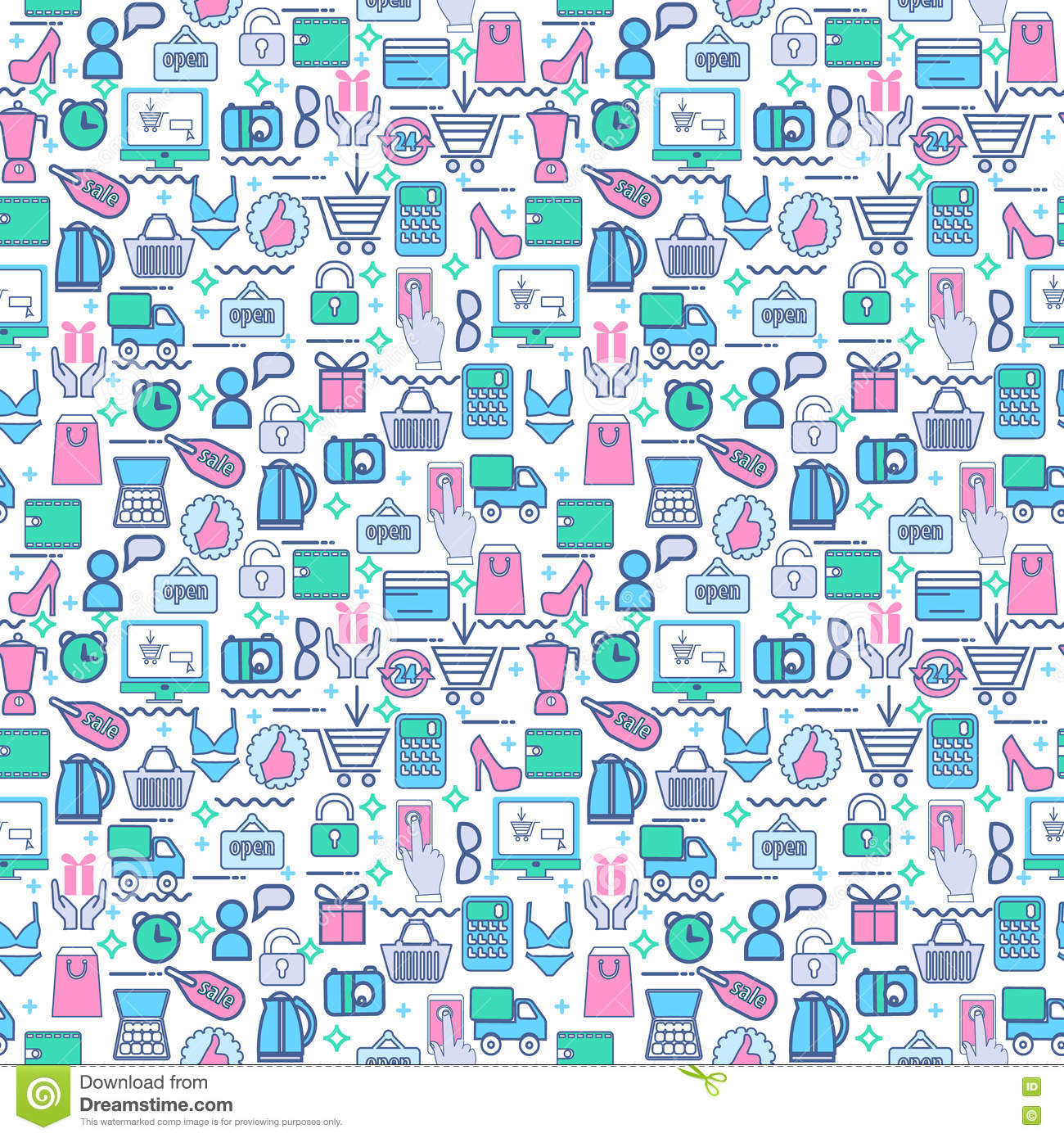 3f16500014 Seamless Background With Colorful Shopping Icons. Stock Vector ...