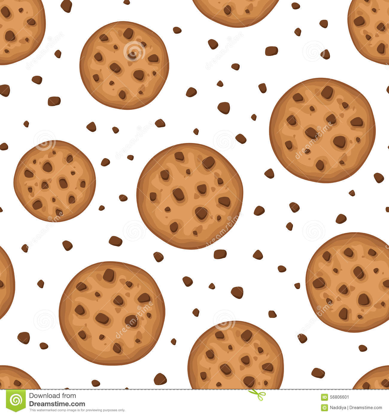 Seamless Background With Cookies Vector Illustration