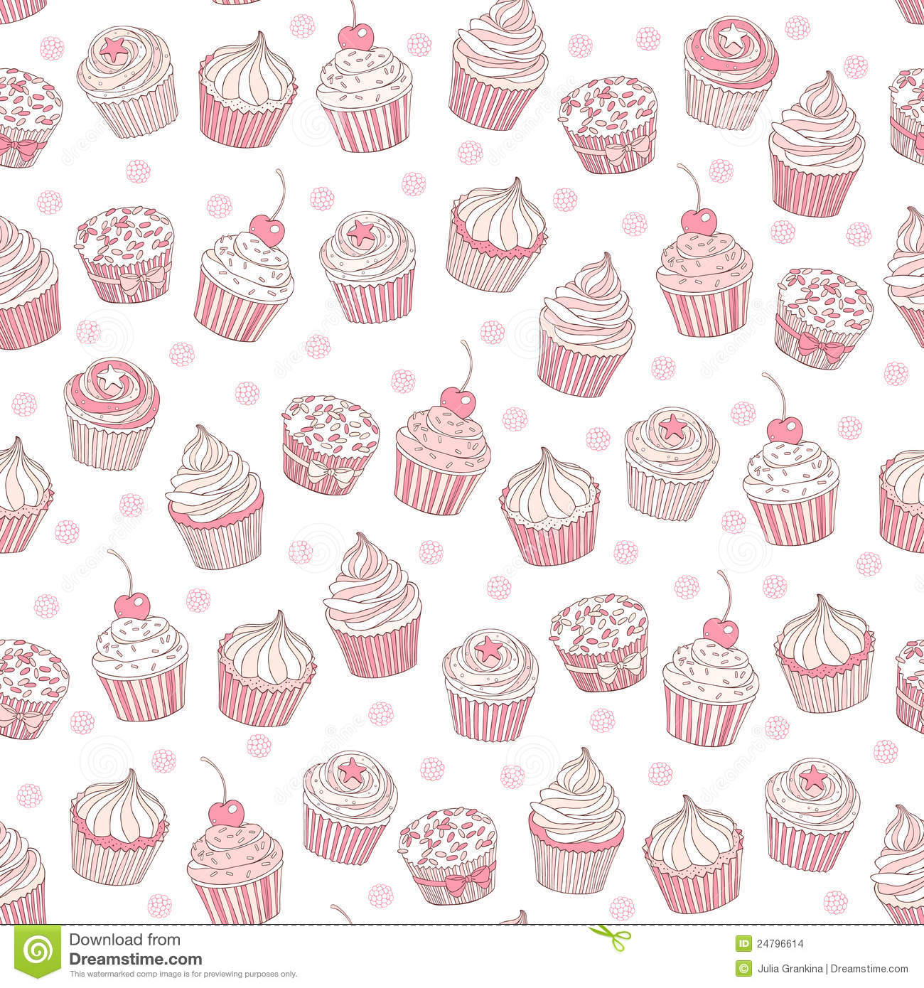 Seamless Background With Cupcakes Stock Vector Image