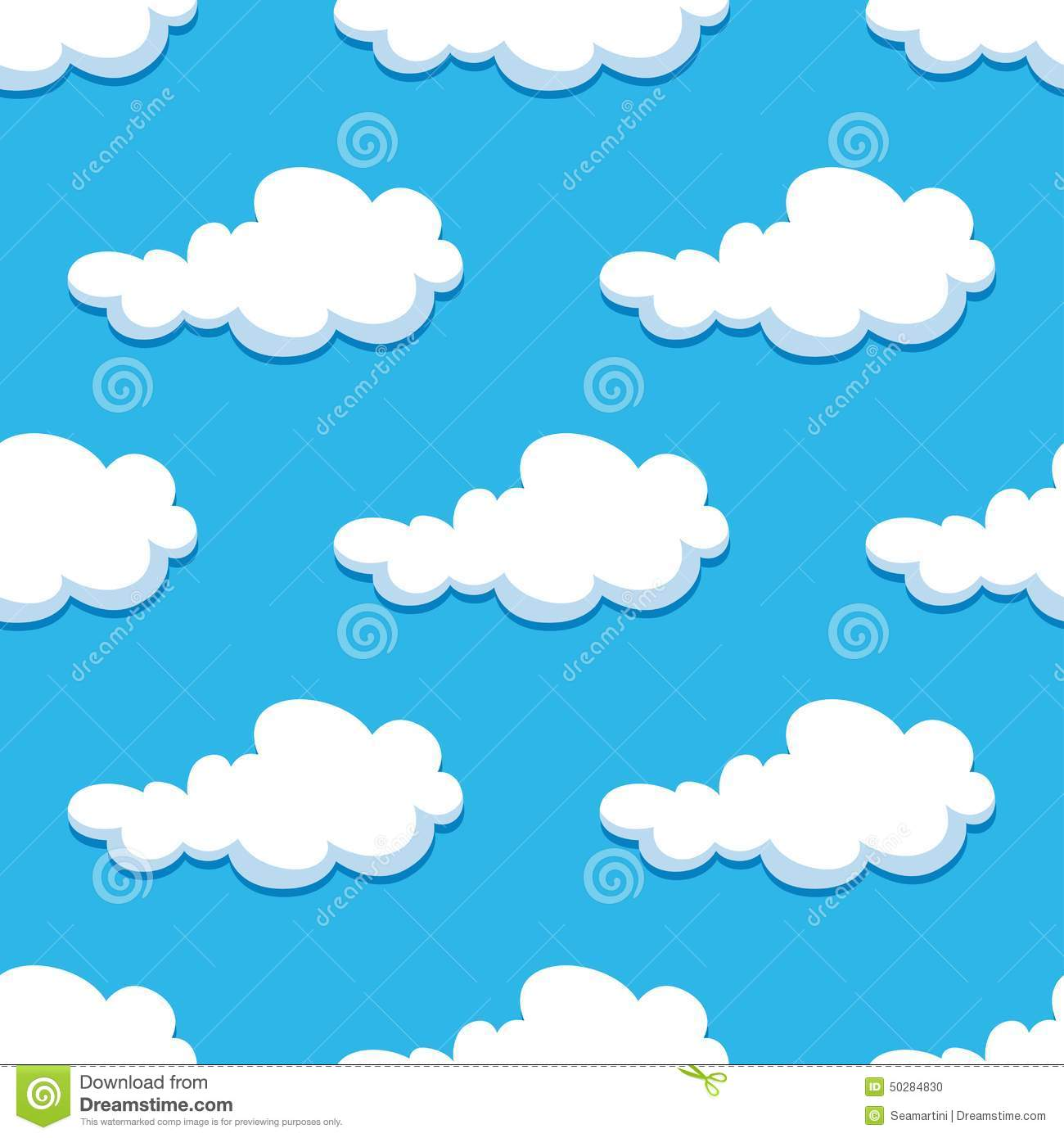 Seamless Background With Cute Cartoon Clouds Stock Vector