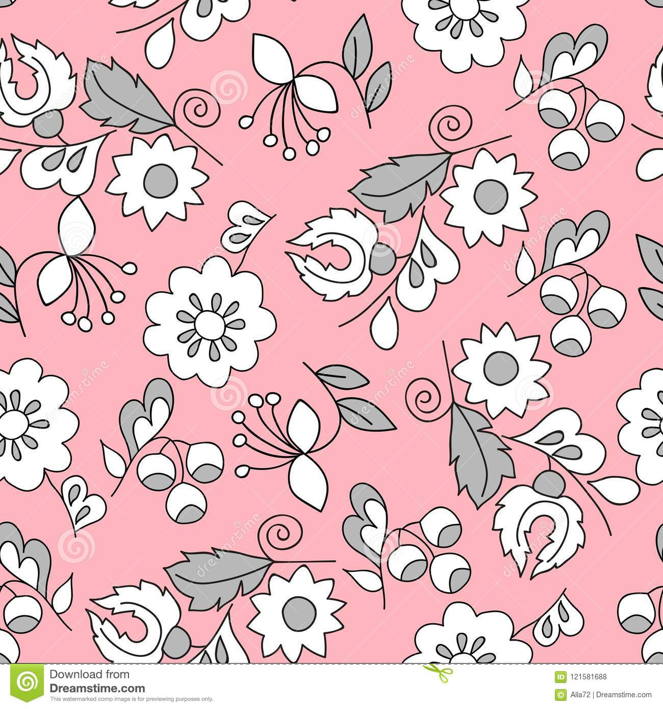 Seamless Background Of Cute Flowers Template For Fabric Packing