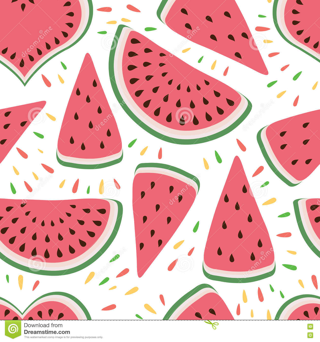 seamless background with cute watermelon slices on the white