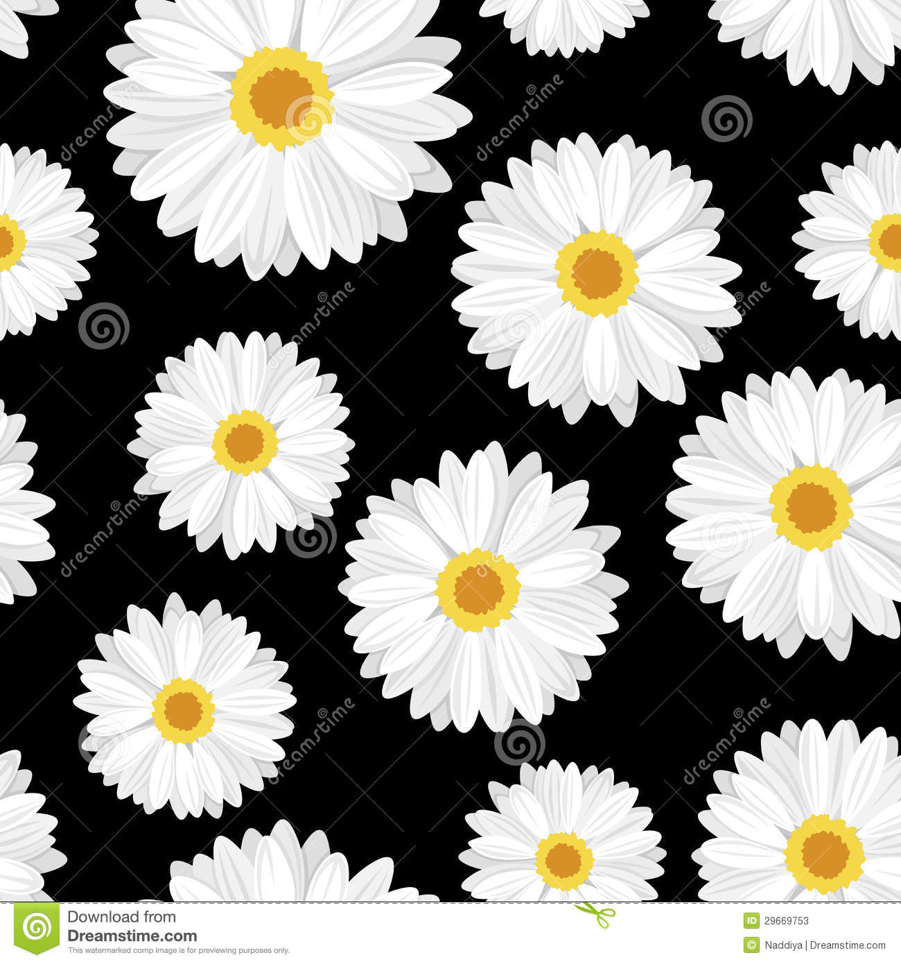 Daisy Flower Black And White Wallpaper Vector Seamless background