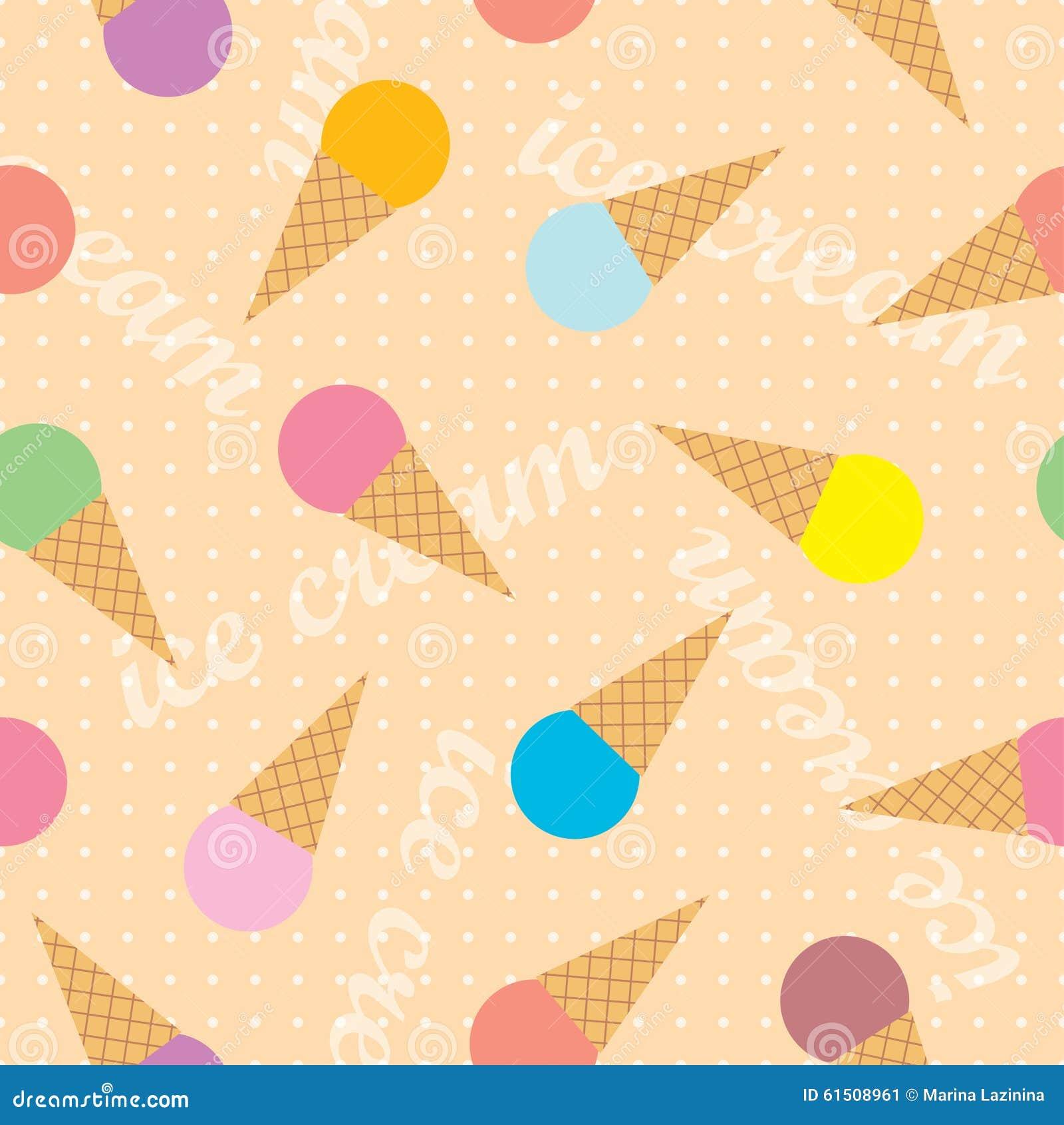 Seamless Ice Cream Background: Seamless Background With Decorative Ice Cream Stock