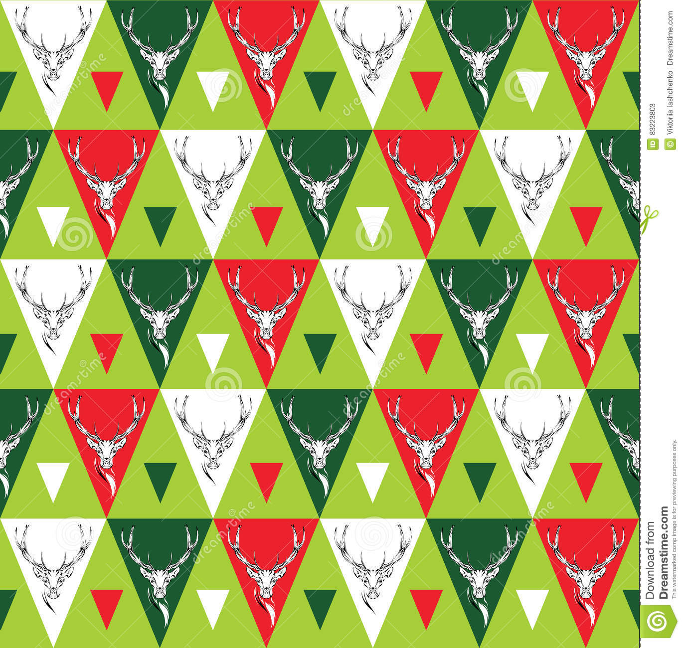 Seamless background with deer heads. ethnic ornament
