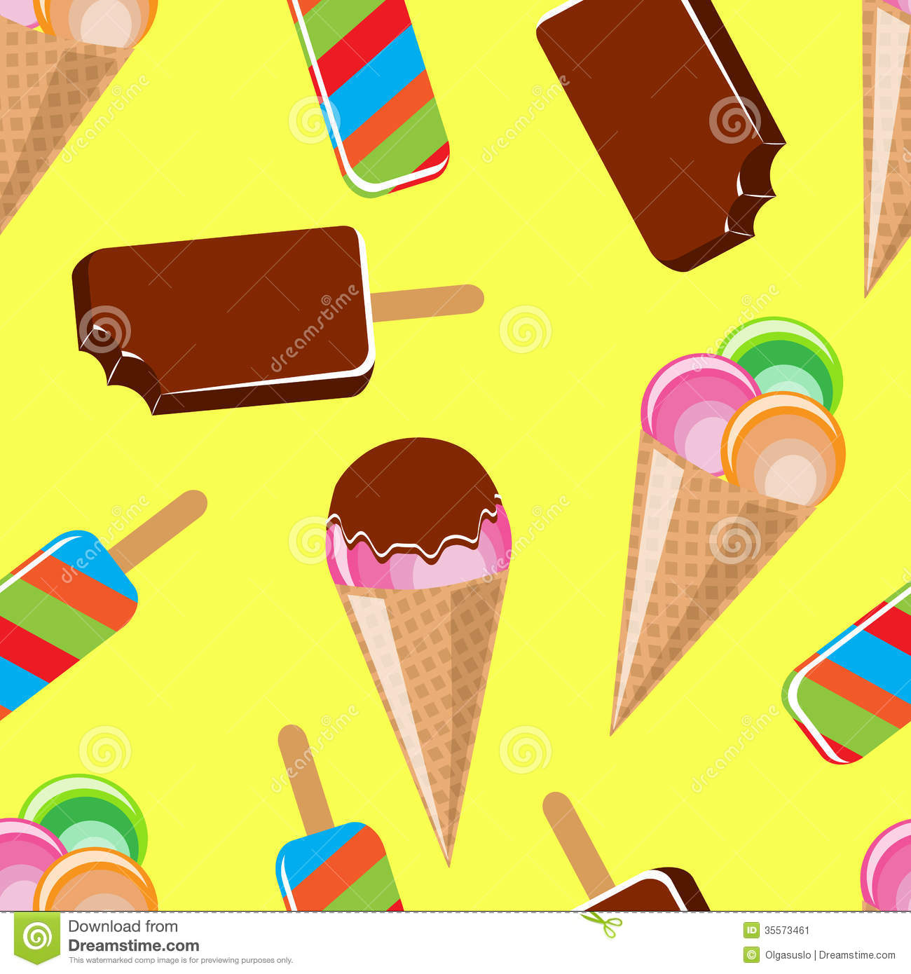 Seamless Ice Cream Wallpaper Royalty Free Stock Images: Seamless Background With Different Ice Cream Stock Image