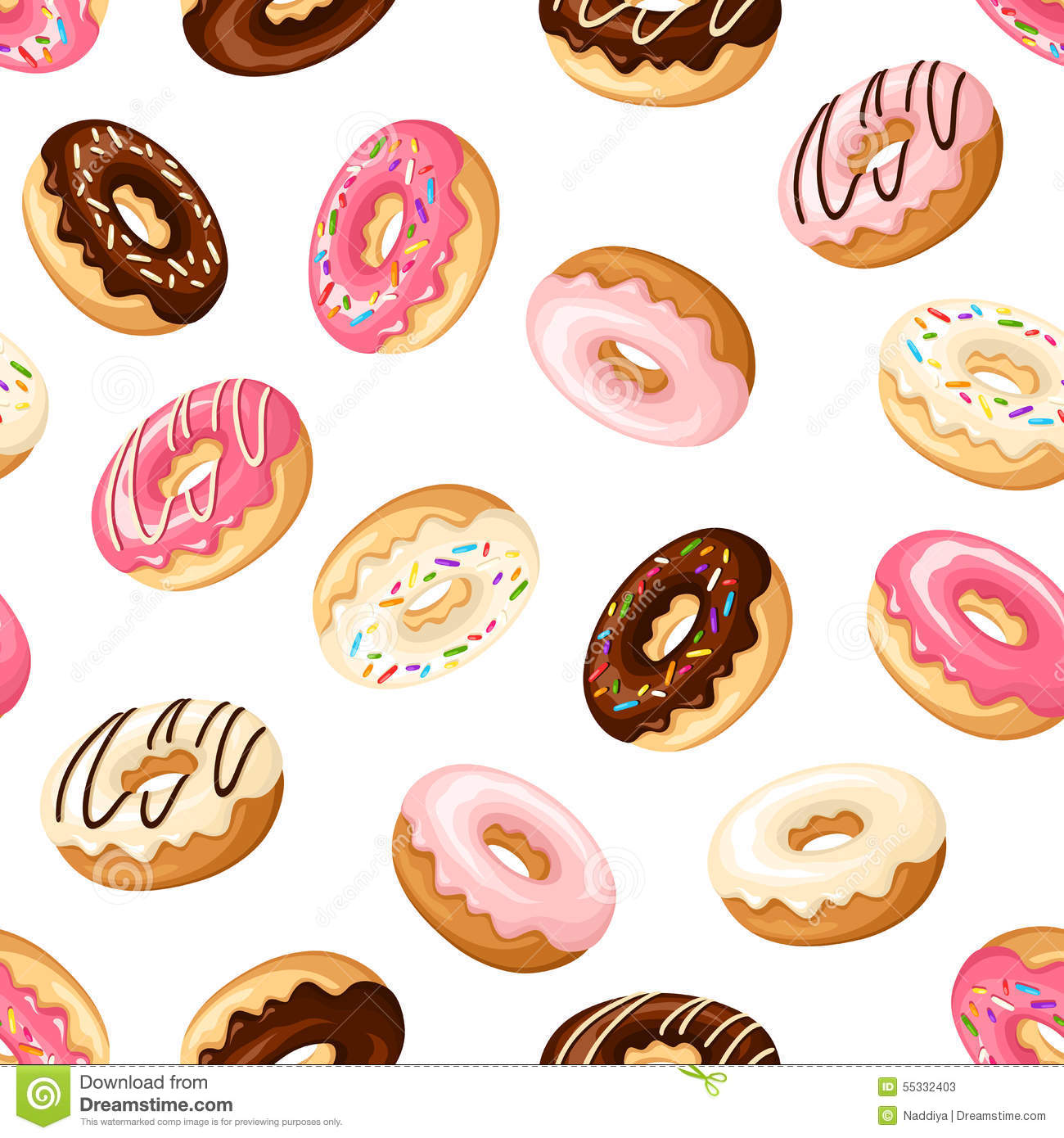 Autumn Decorations Home Seamless Background With Donuts Vector Illustration