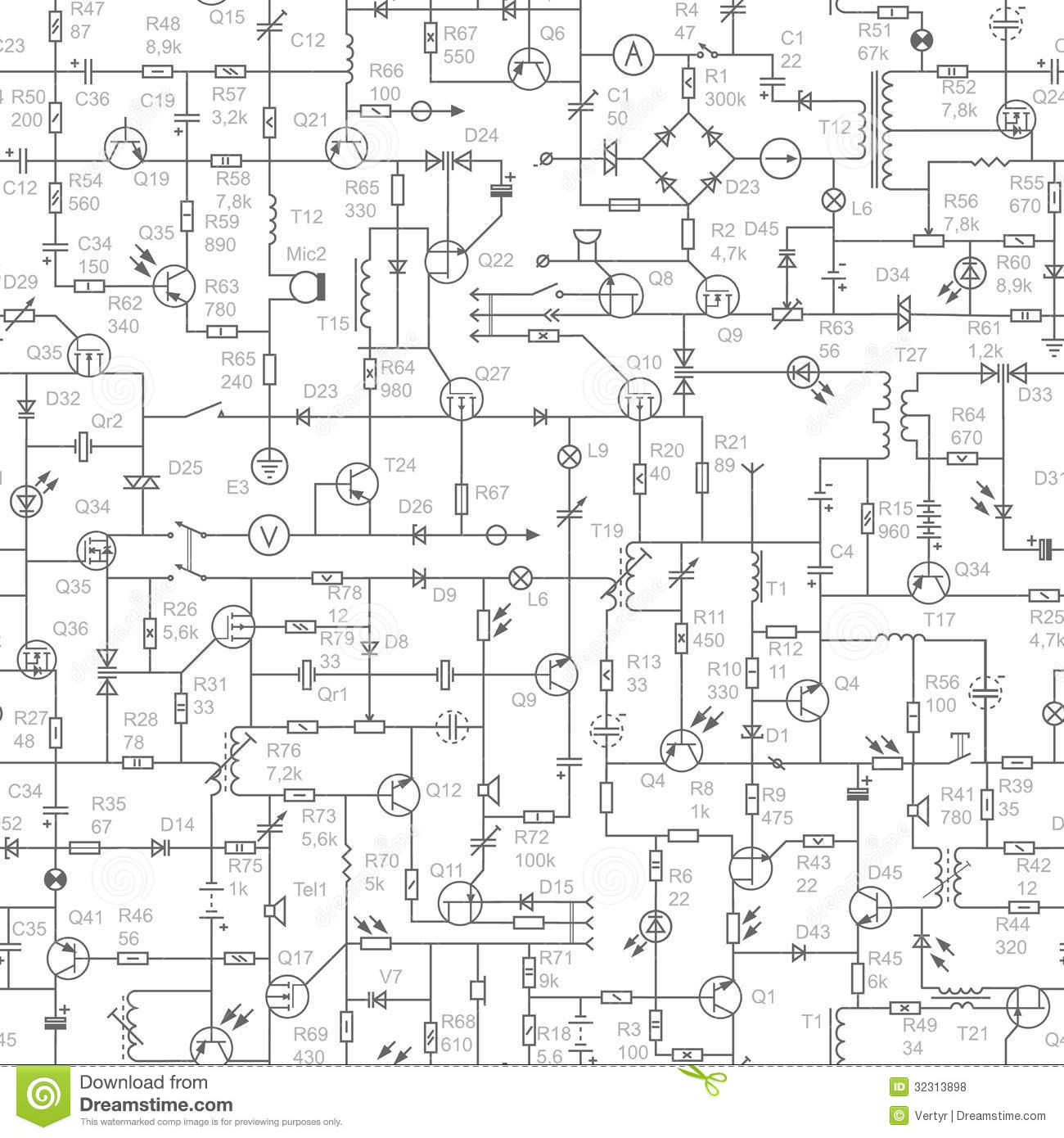 seamless background of electrical circuit with signatures