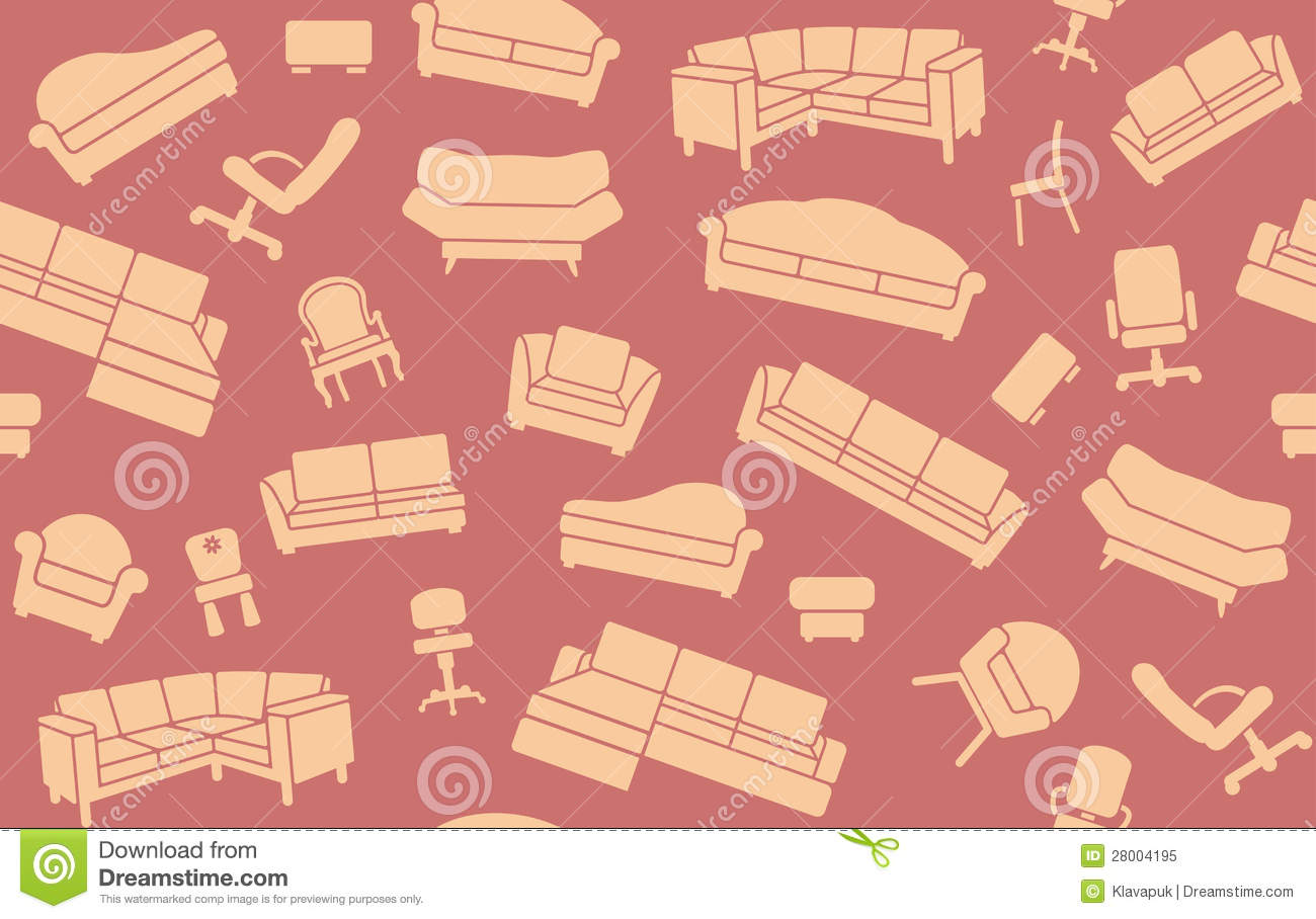 Seamless Furniture Background Stock Vector Illustration Of Chair