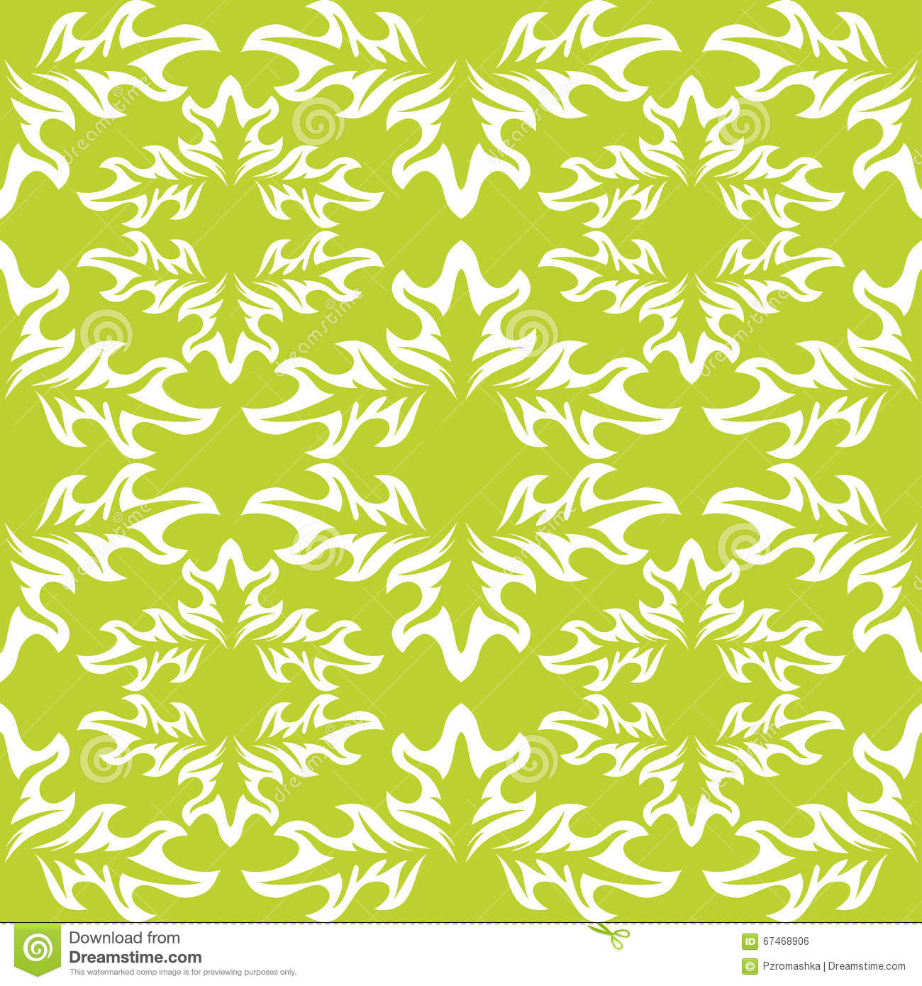 Green Wallpaper With White Leaf Pattern