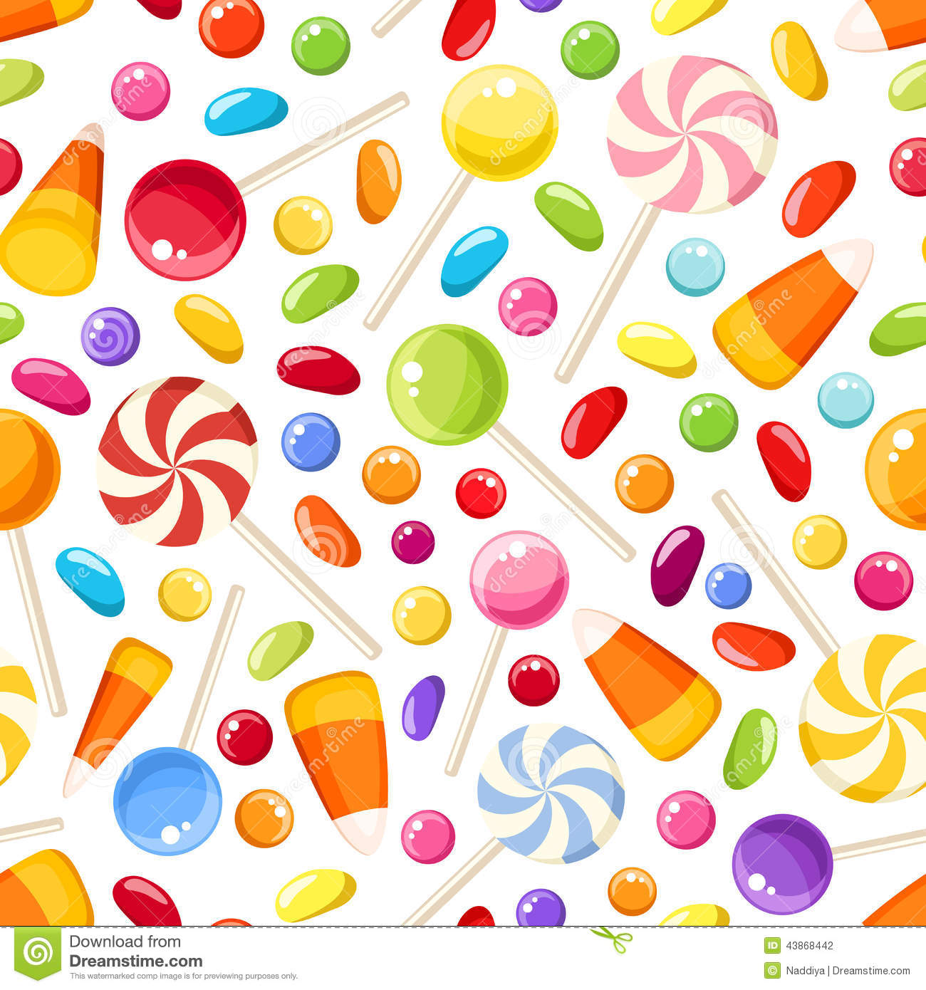seamless background with halloween candies vector