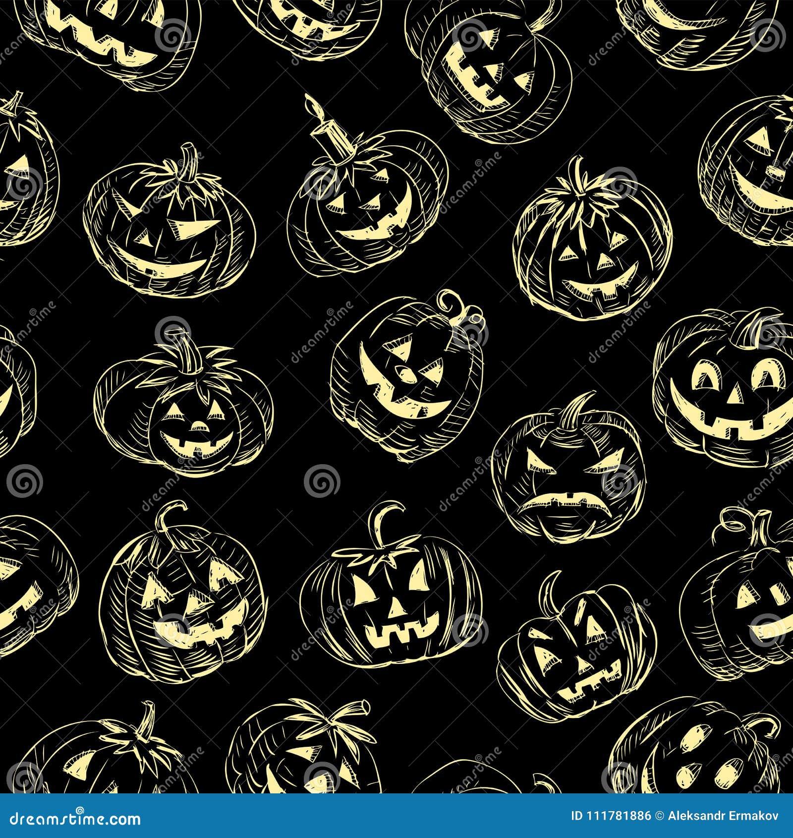 Seamless background of the halloween pumpkins