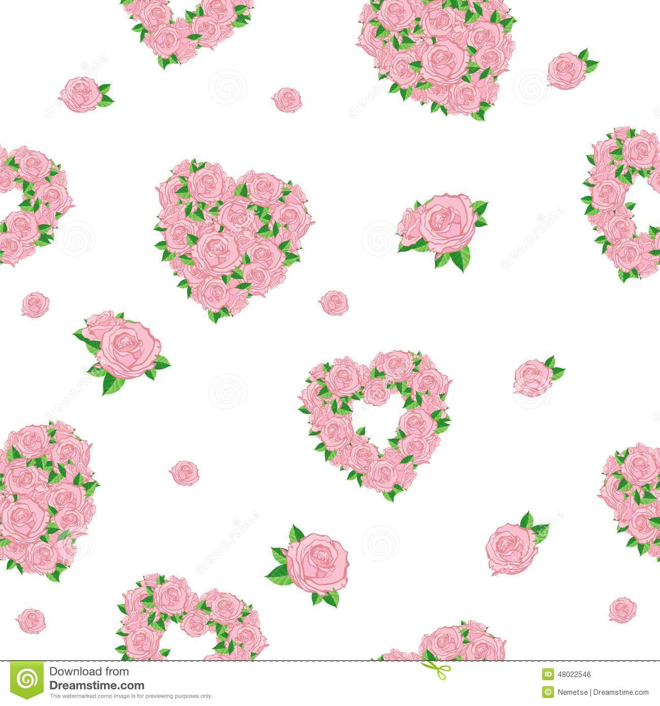 seamless background with hearts and roses stock vector