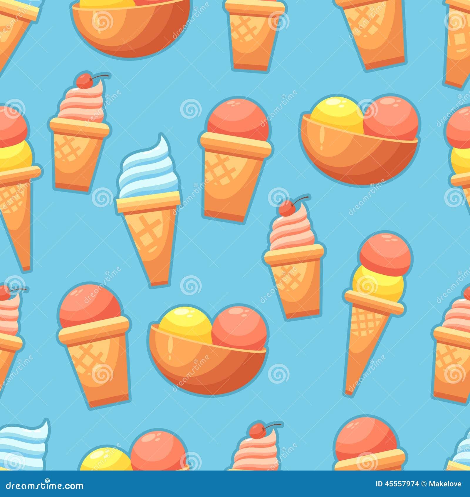 Seamless Ice Cream Background: Seamless Background With Ice Cream Stock Vector