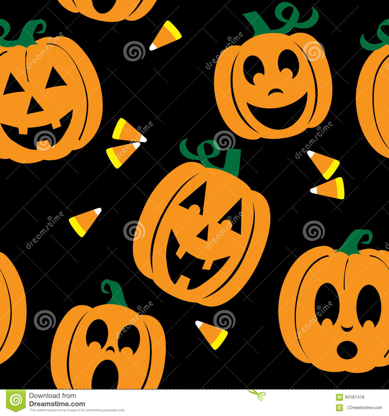 Seamless Background Of Jack O Lanterns And Candy Corn Stock
