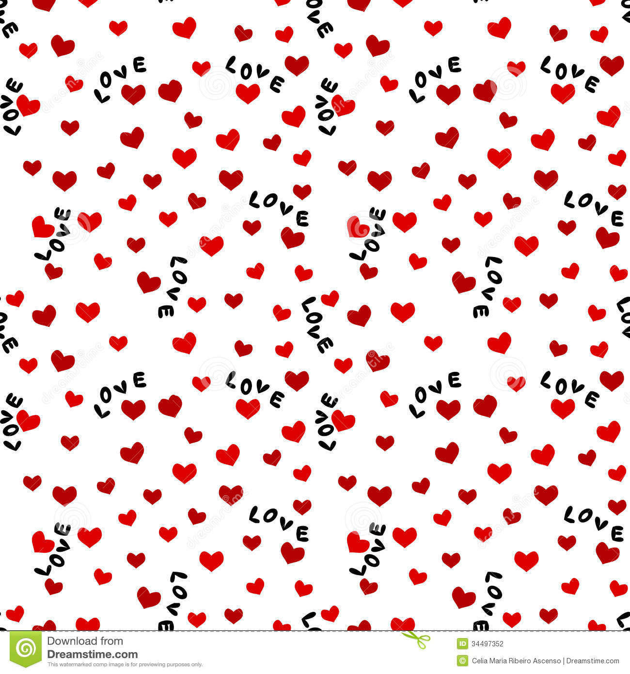 Seamless Background with Love Words and Hearts
