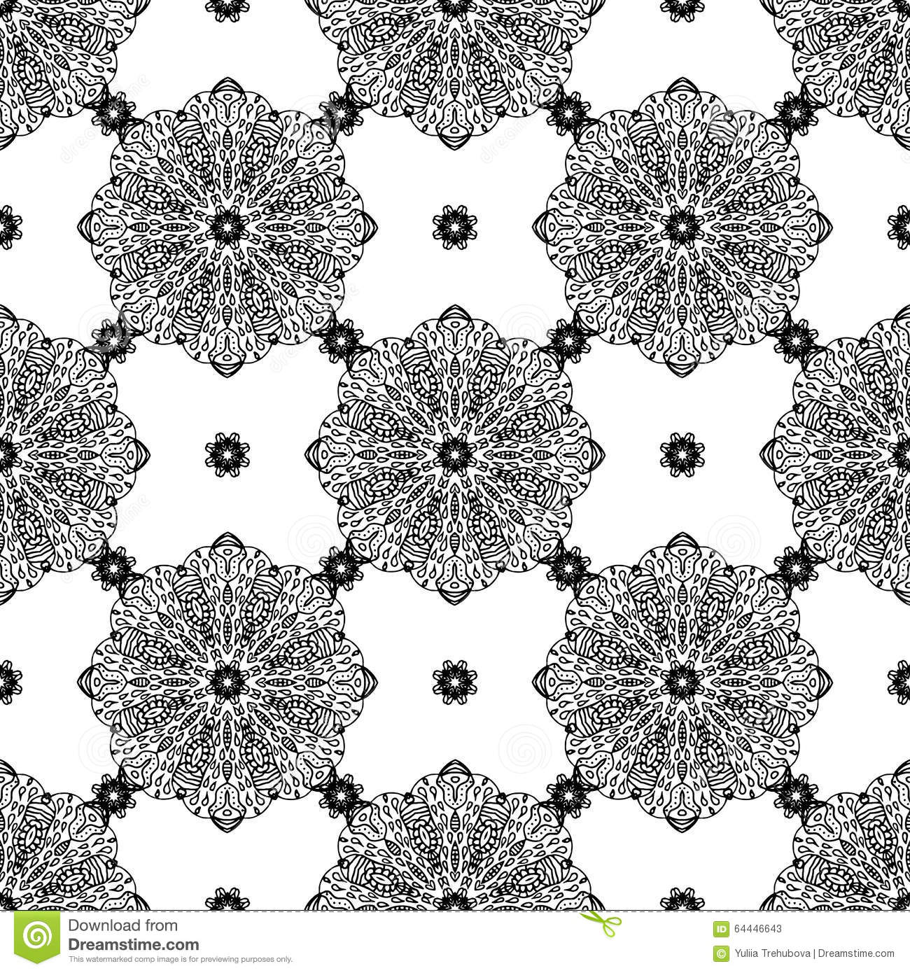 seamless background with mandala vintage geometric textures lace