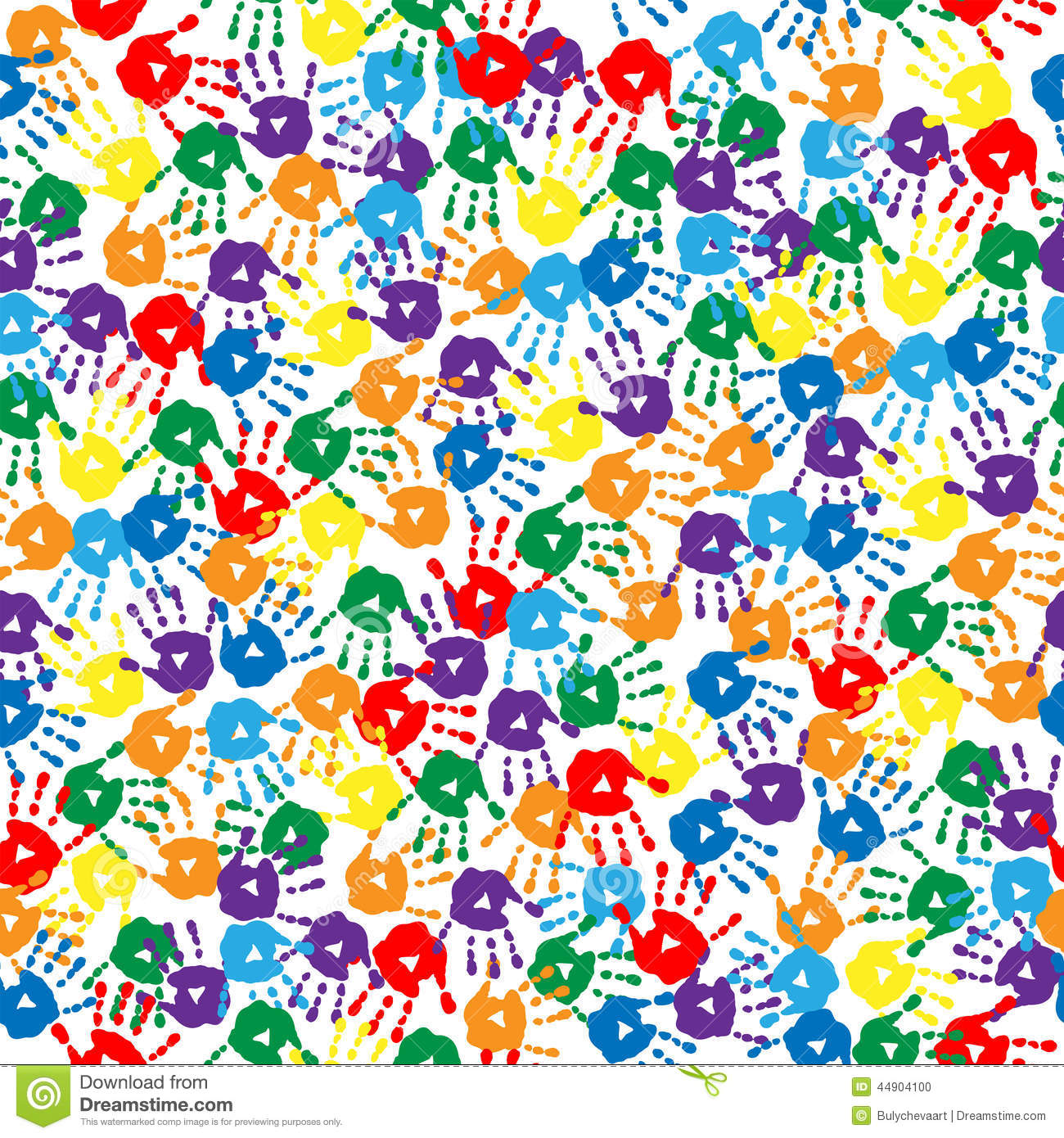 Seamless Background With Multi Colored Handprints Stock